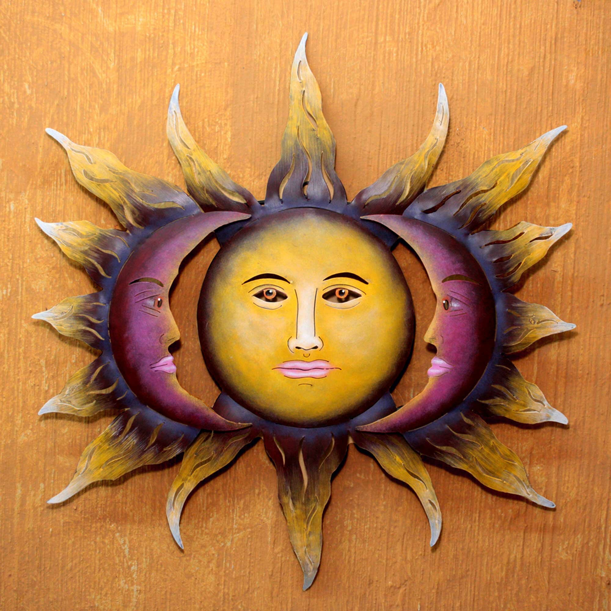 handmade sun and moon steel wall dcor - Sun Wall Decor