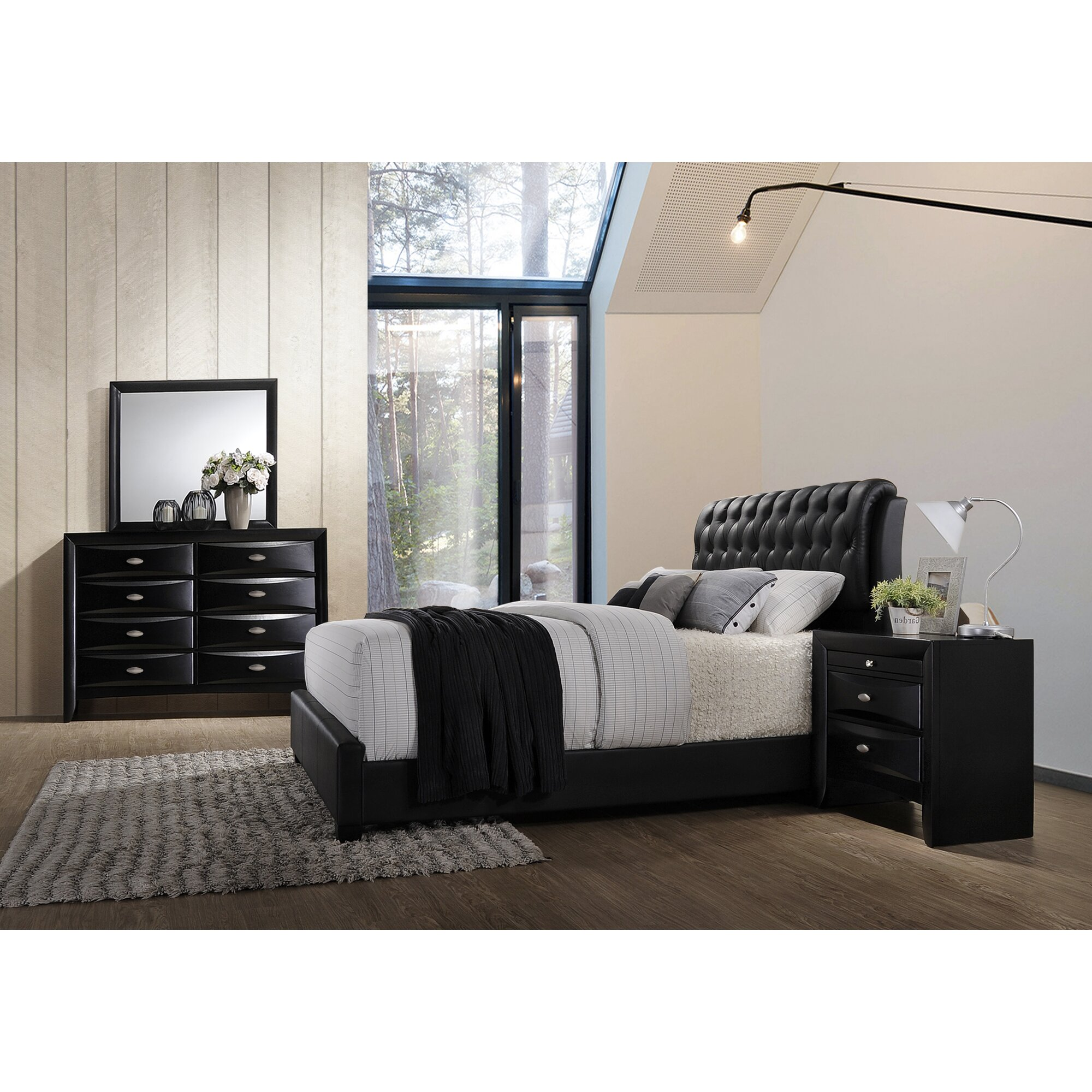 Bedroom Furniture: Roundhill Furniture Blemerey 4 Piece Bedroom Set