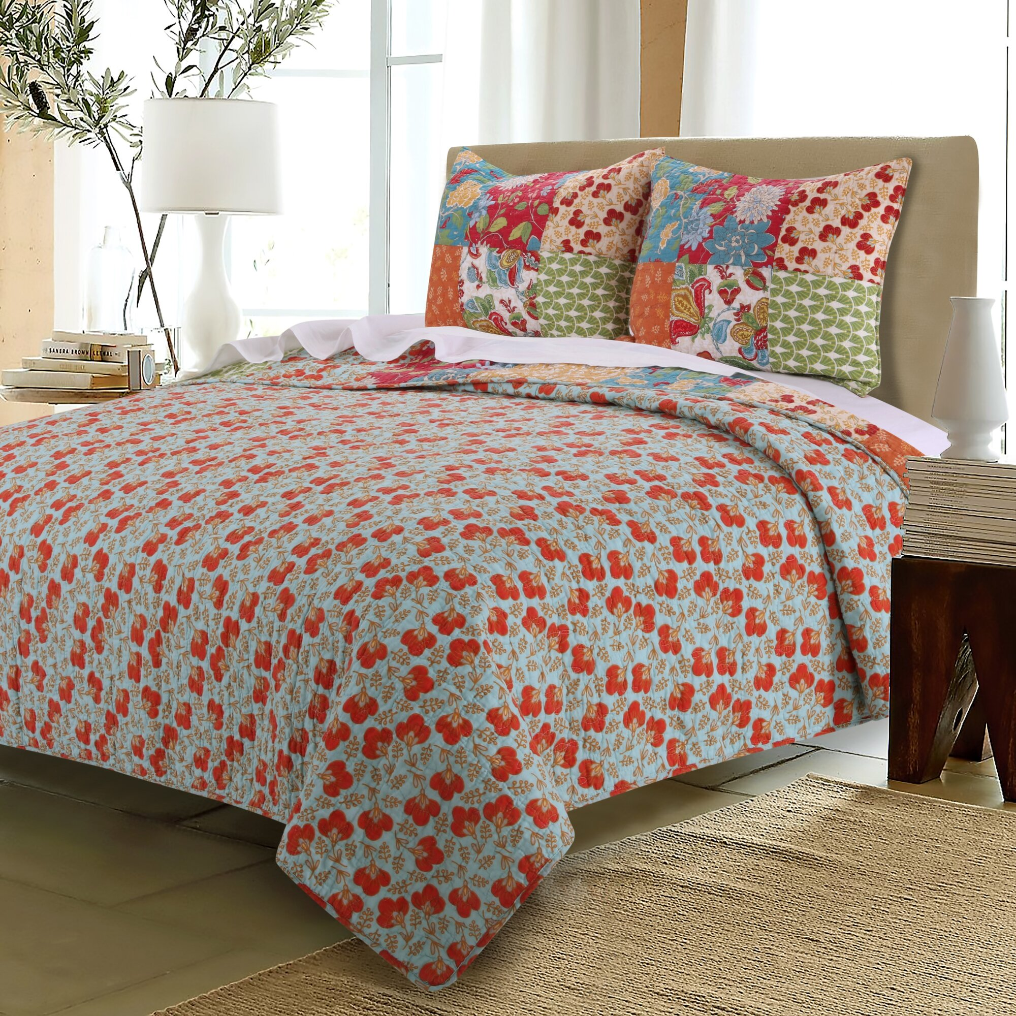 Bed sheet set with quilt - Terra Blossom Reversible Quilt Set