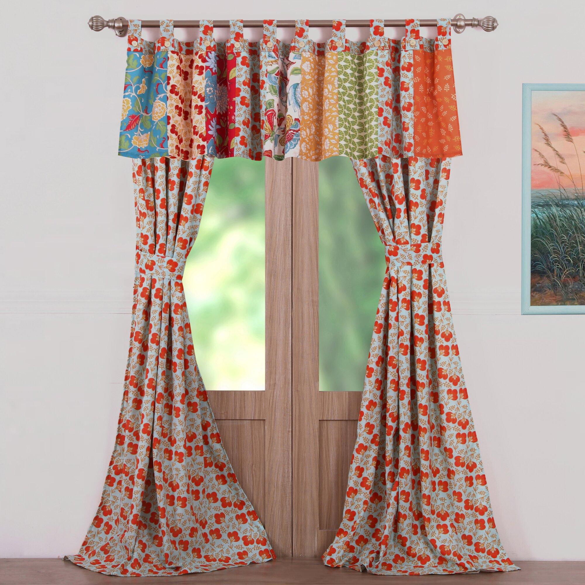 Greenland Home Fashions Terra Blossom Nature Floral Sheer Tab Top Curtain Panels Reviews