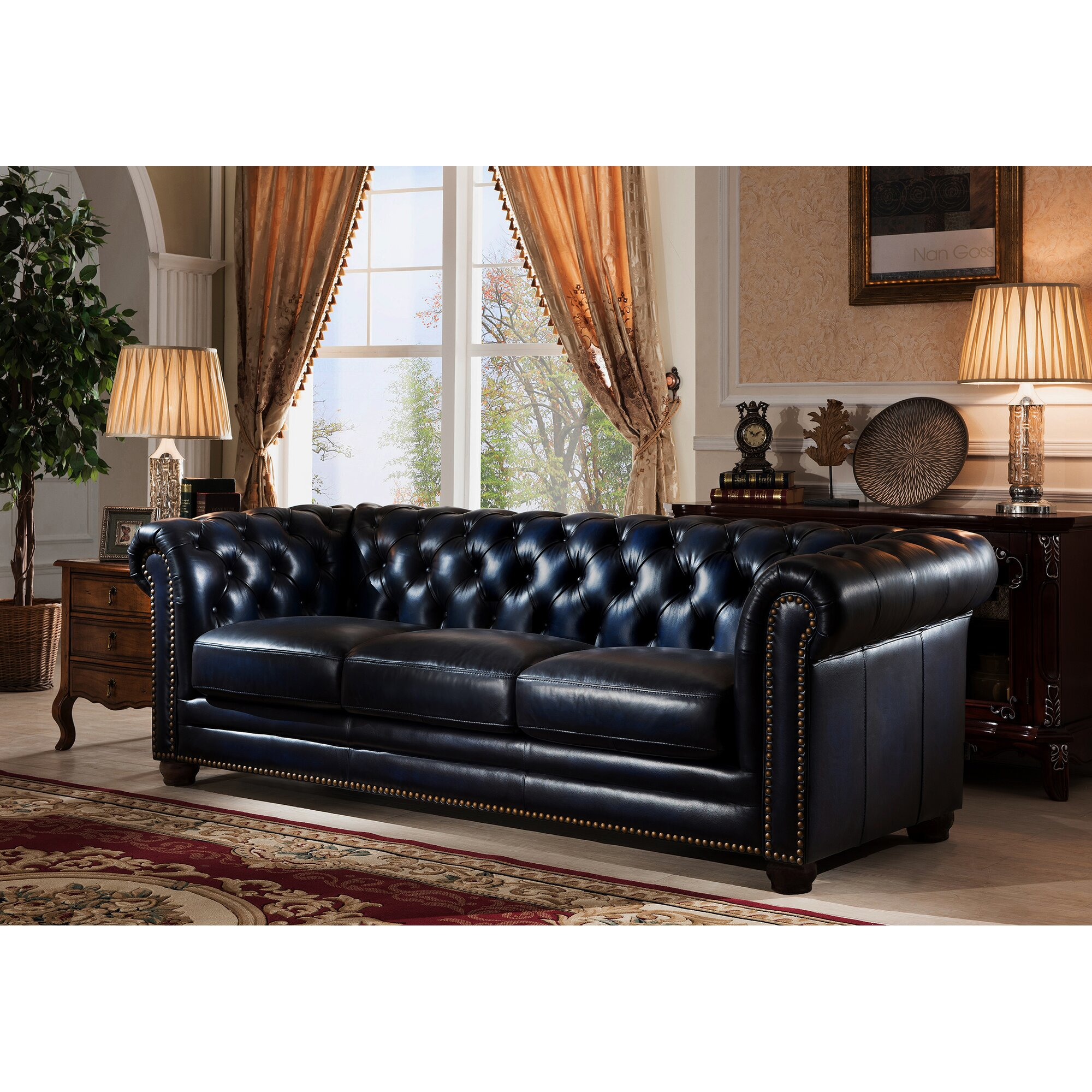 amax nebraska chesterfield genuine leather sofa and chair set. Black Bedroom Furniture Sets. Home Design Ideas