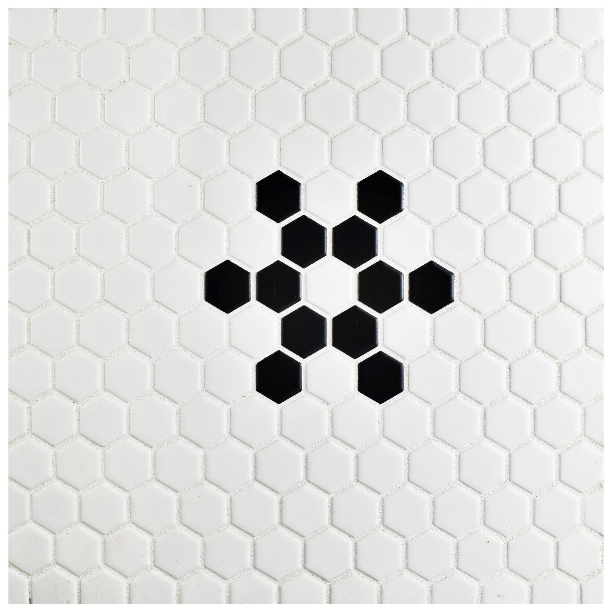 Hexagon Floor Tile hexagon mosaic floor tile Retro Hexagon 0875 X 0875 Porcelain Mosaic Tile In Glazed Blackwhite