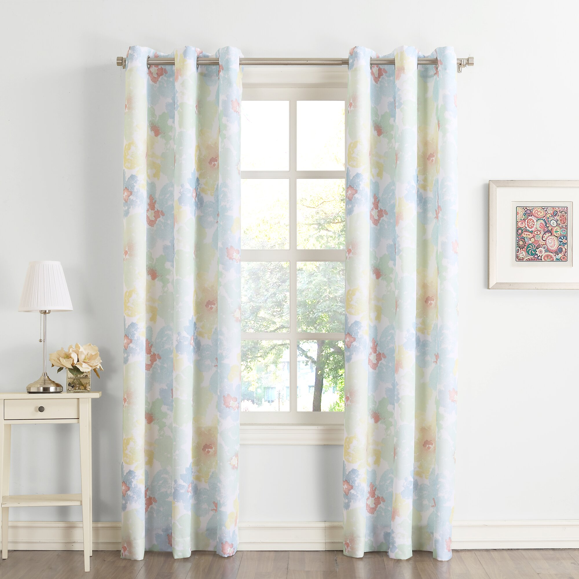 No maxine nature floral sheer grommet single curtain