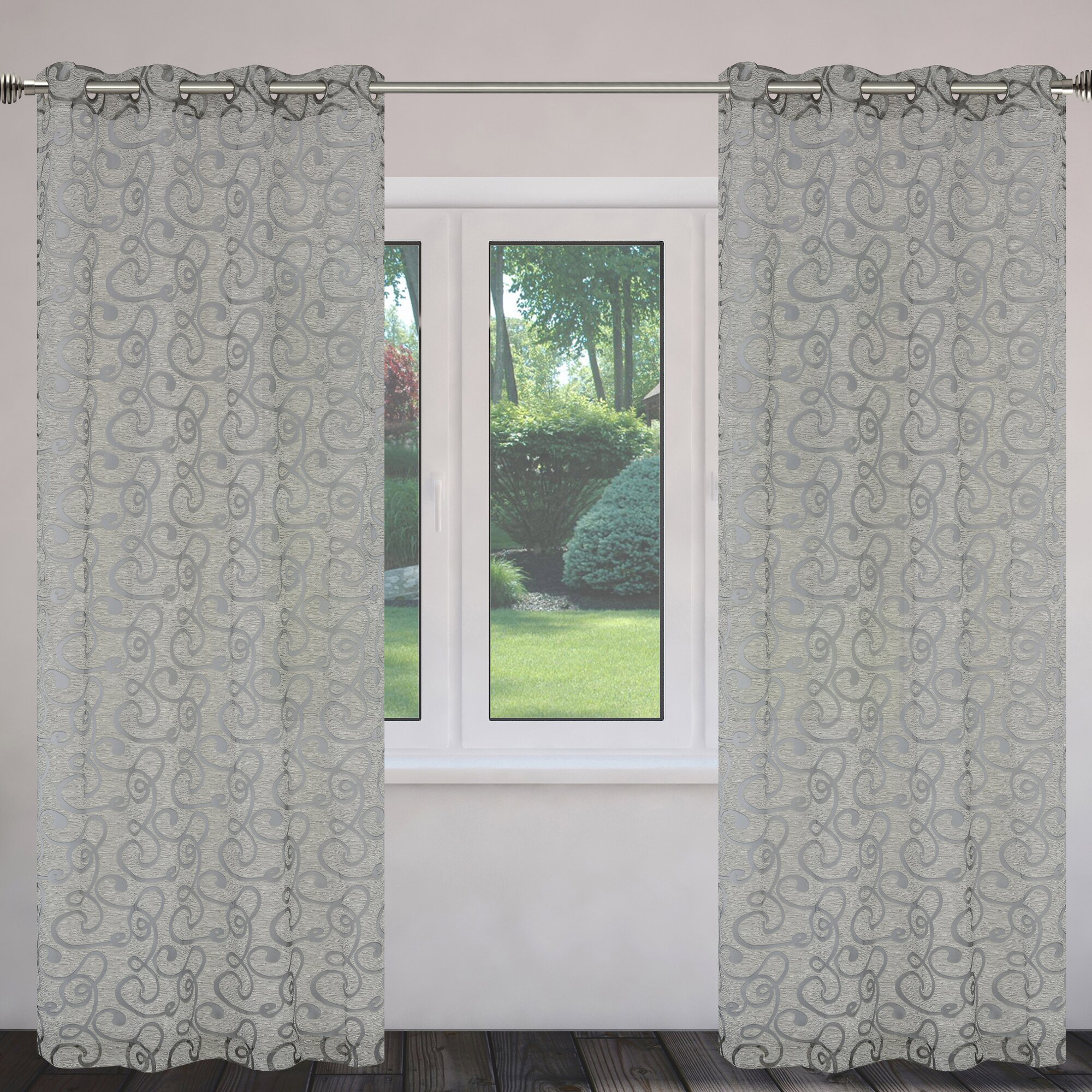 mystic burnout geometric semisheer grommet curtain panels louisville decorative outdoor lighting adds mystique