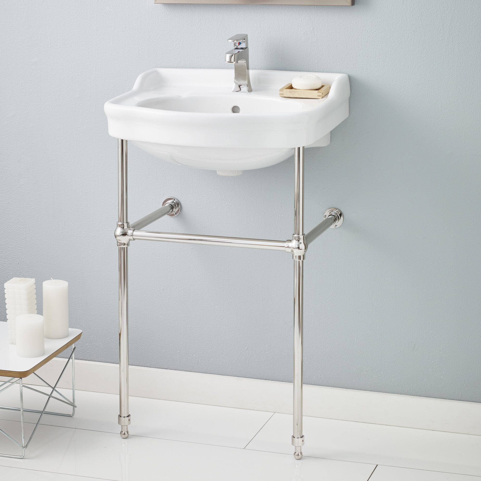 Cheviotproducts 22 5 console bathroom sink with overflow for Bathroom console