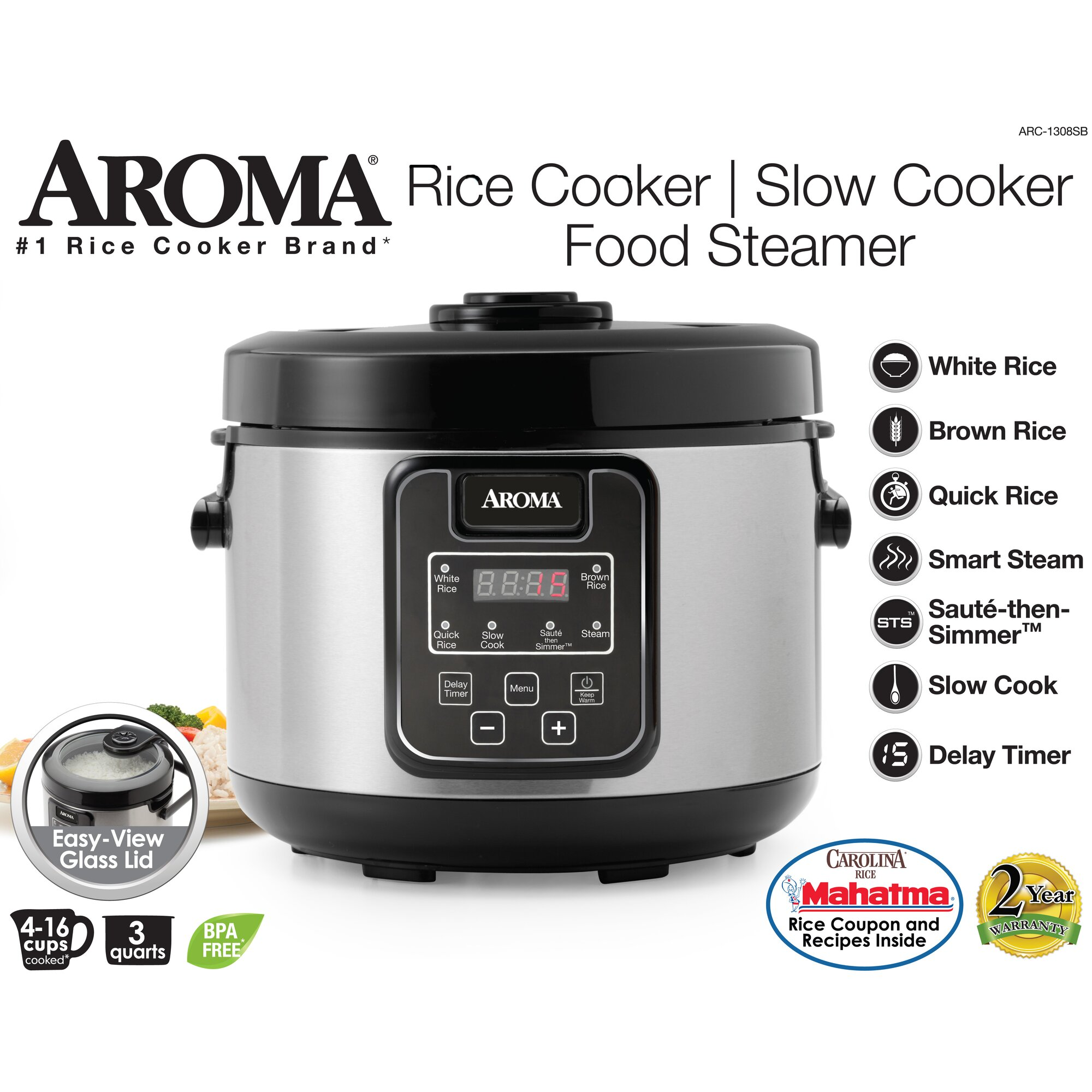 Aroma 16-Cup Slow Cooker, Food Steamer and Rice Cooker