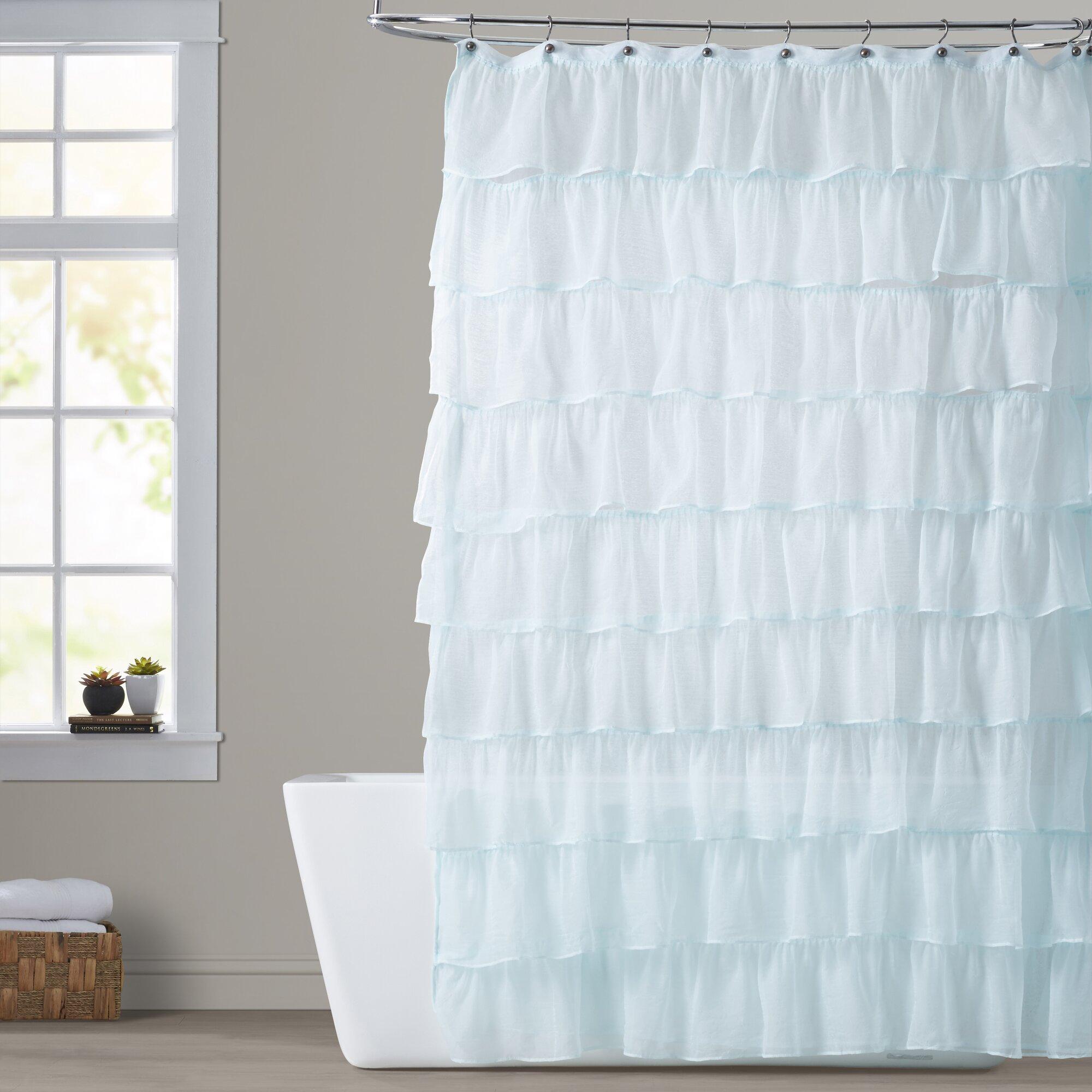 White Cotton Ruffle Shower Curtain. Elegant Ruffle Shower Curtain ...