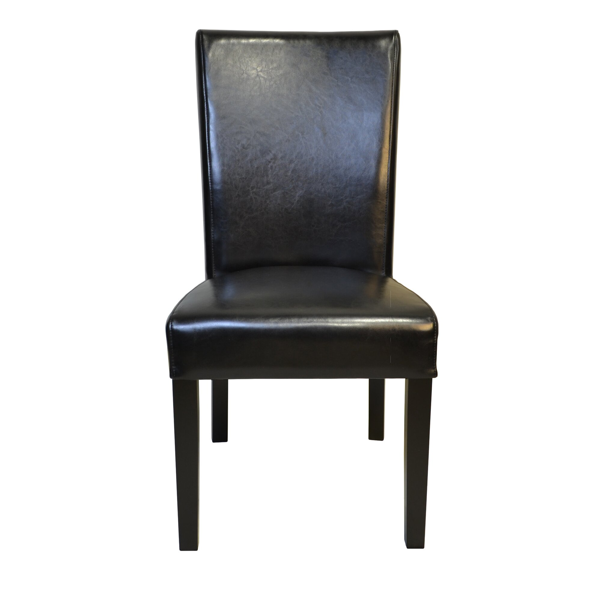 HD Couture Petra Straightback Genuine Leather Upholstered