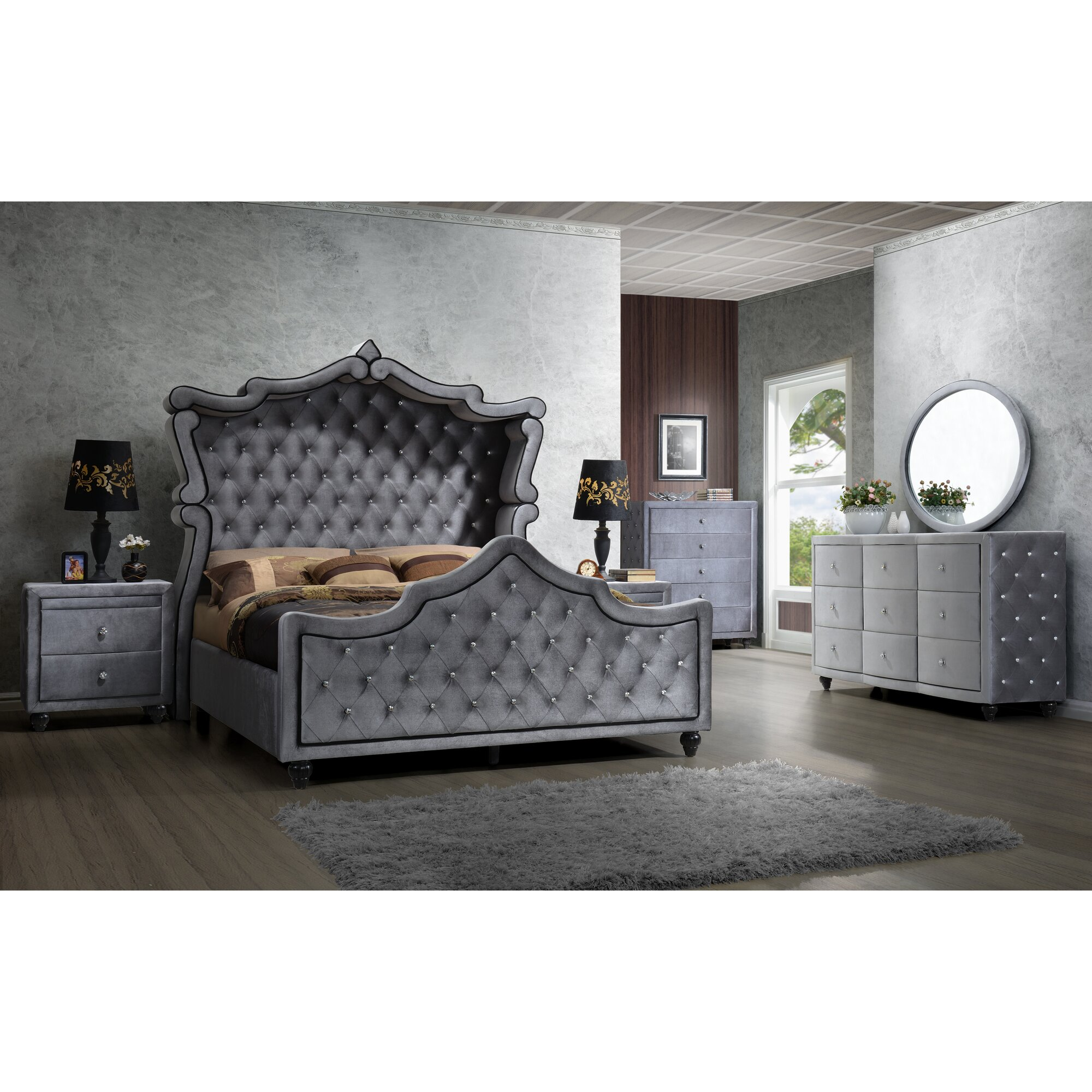Rosdorf Park Grant Upholstered Sleigh Bed & Reviews