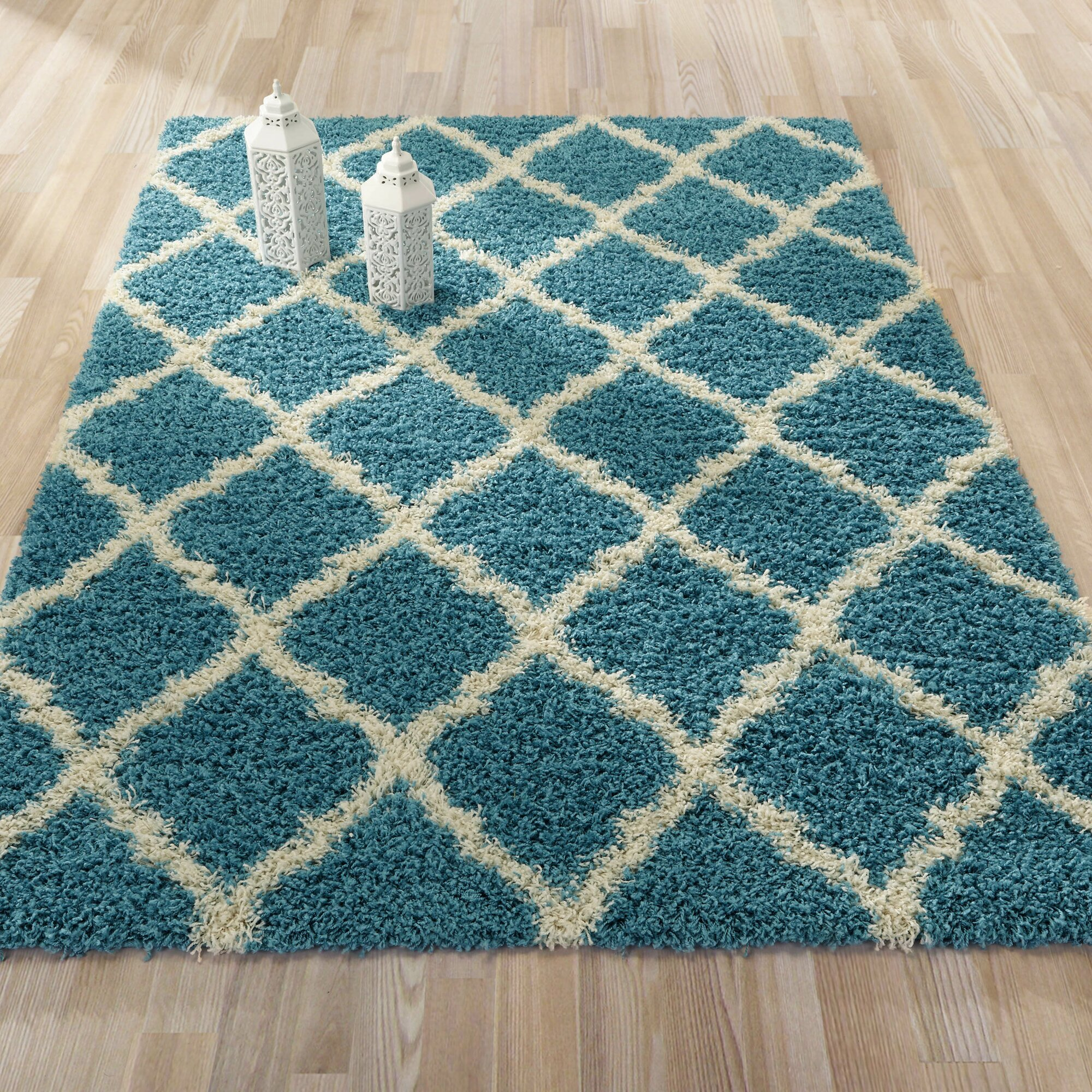 Teal Area Rug Turquoise Rug Soft Rug Bathroom By: Ottomanson Ultimate Moroccan Trellis Soft Turquoise Shaggy