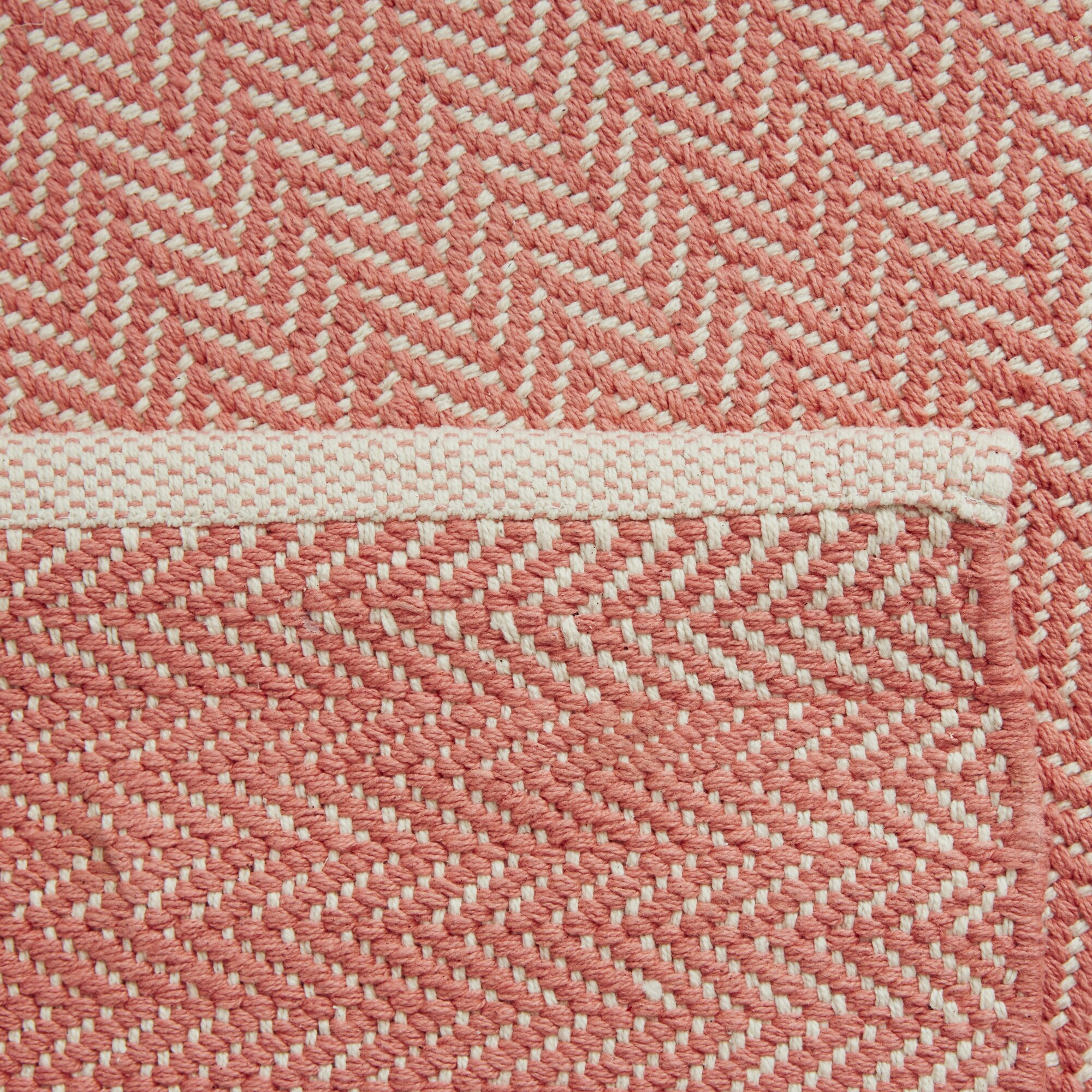 Dash And Albert Rugs Herringbone Hand Woven Pink Area Rug