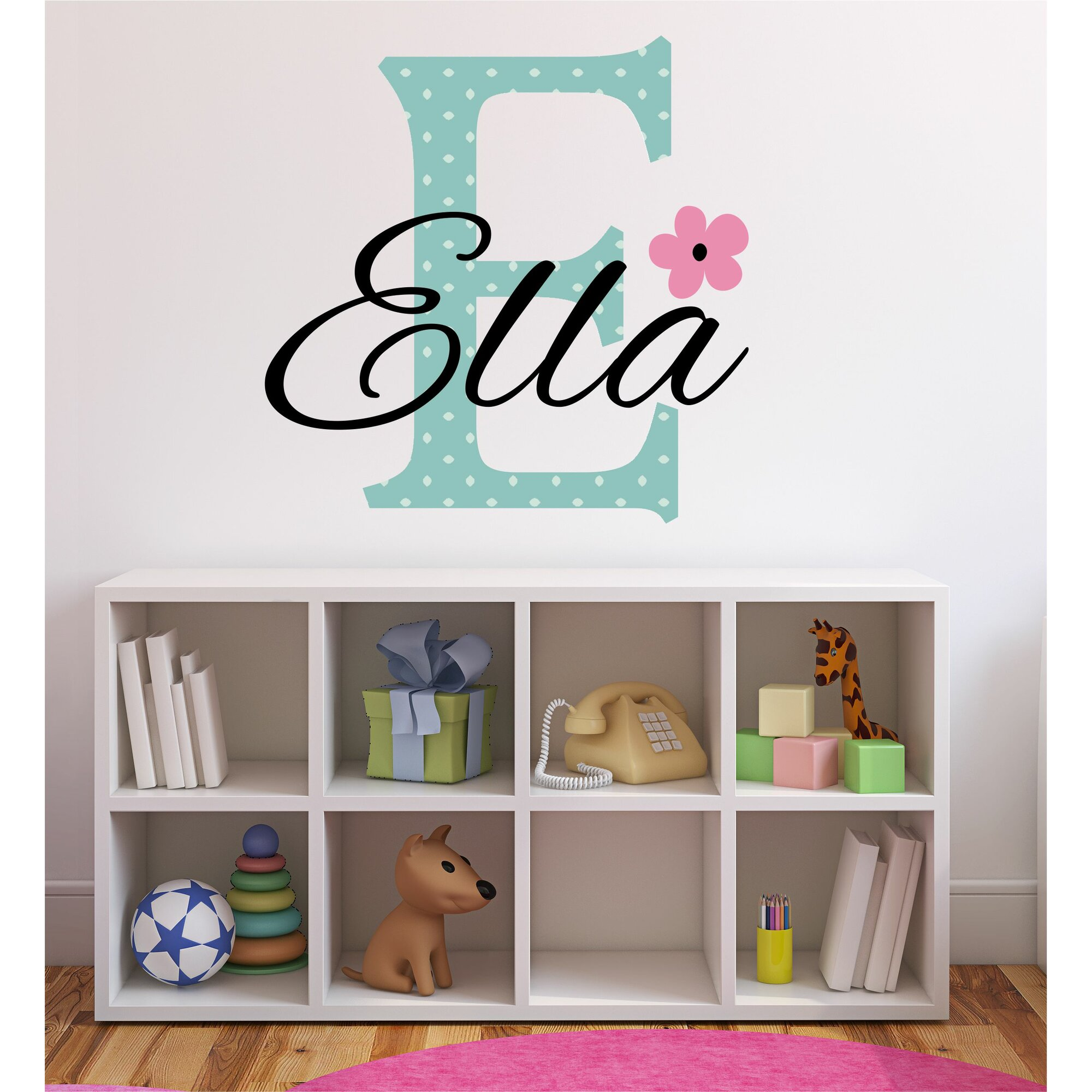 Decor Designs Decals Personalized Flower Name Wall Decal