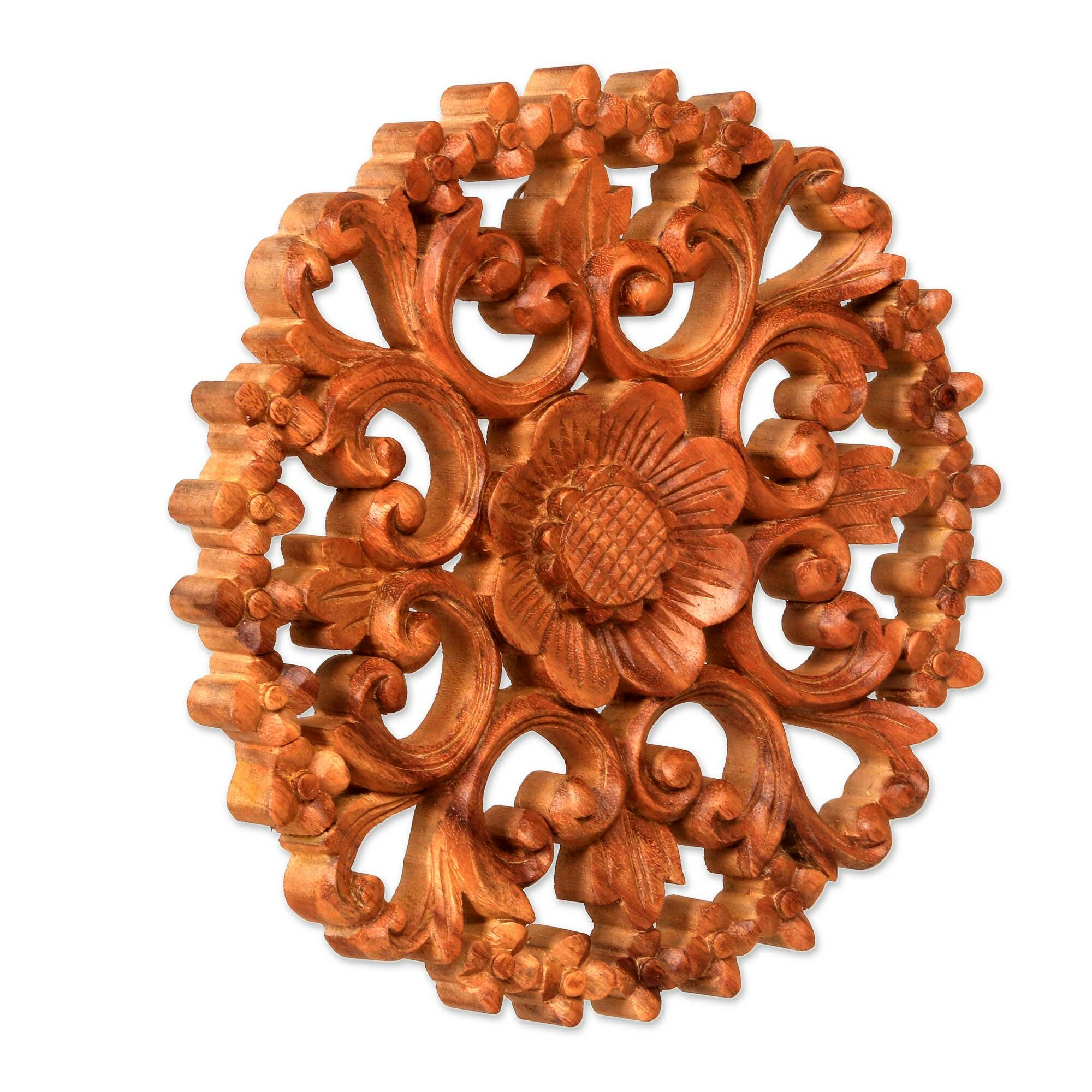 Novica Halo Of Flowers Balinese Artisan Hand Carved Floral