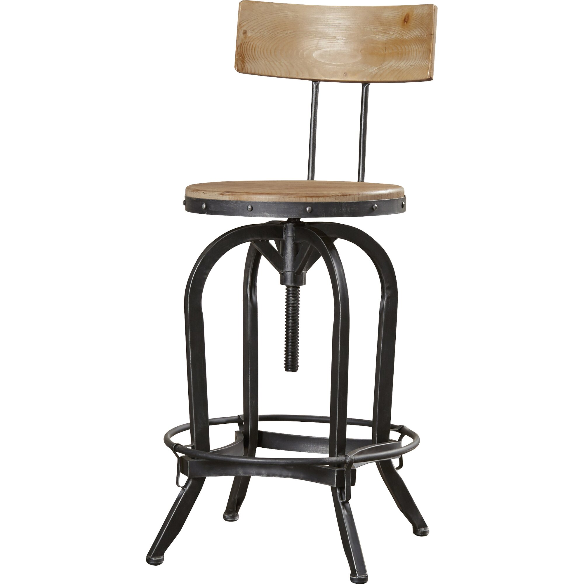 oria adjustable height swivel bar stool  reviews  birch lane - oria adjustable height swivel bar stool