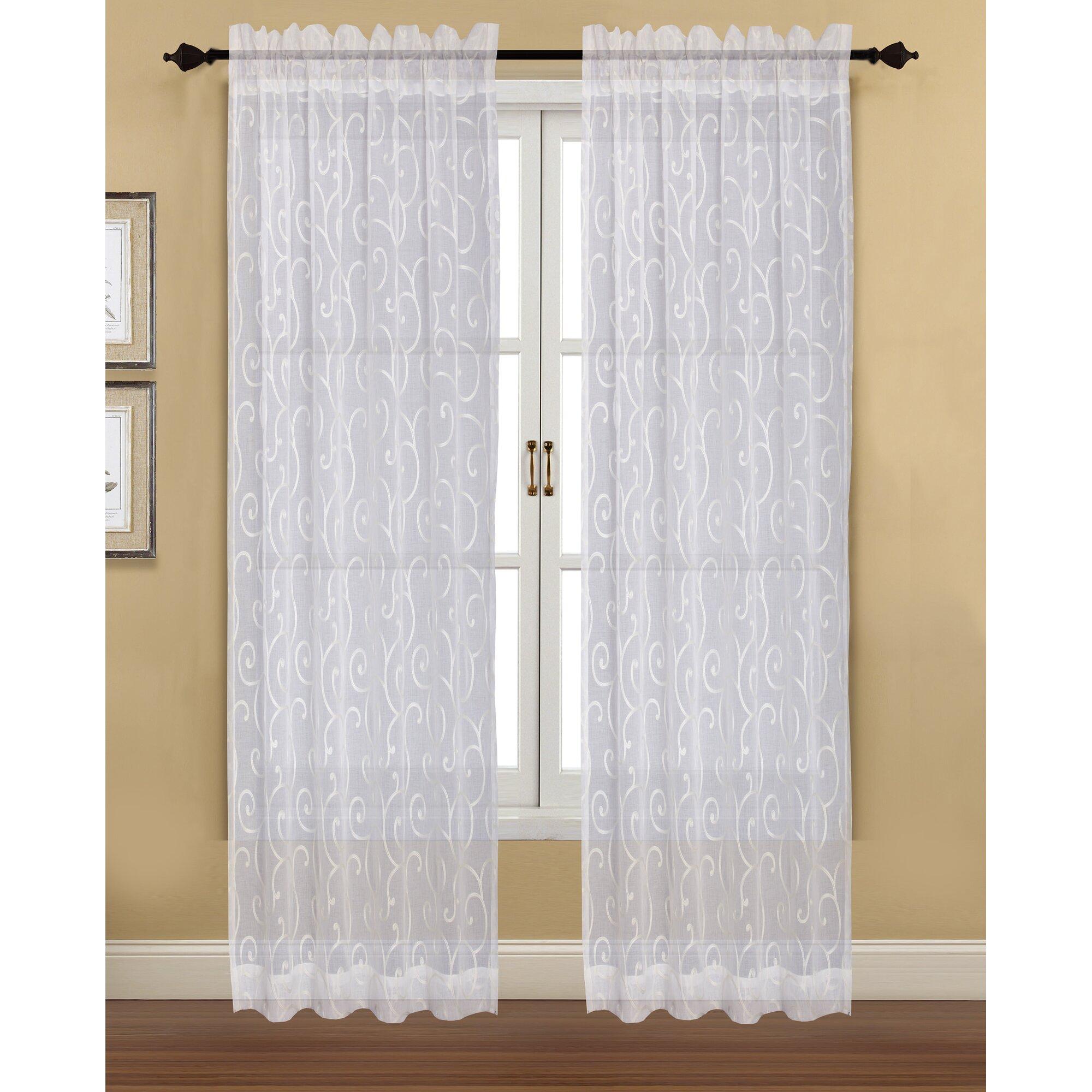 F R P Panel ~ Hfi blair nature floral sheer rod pocket curtain panels