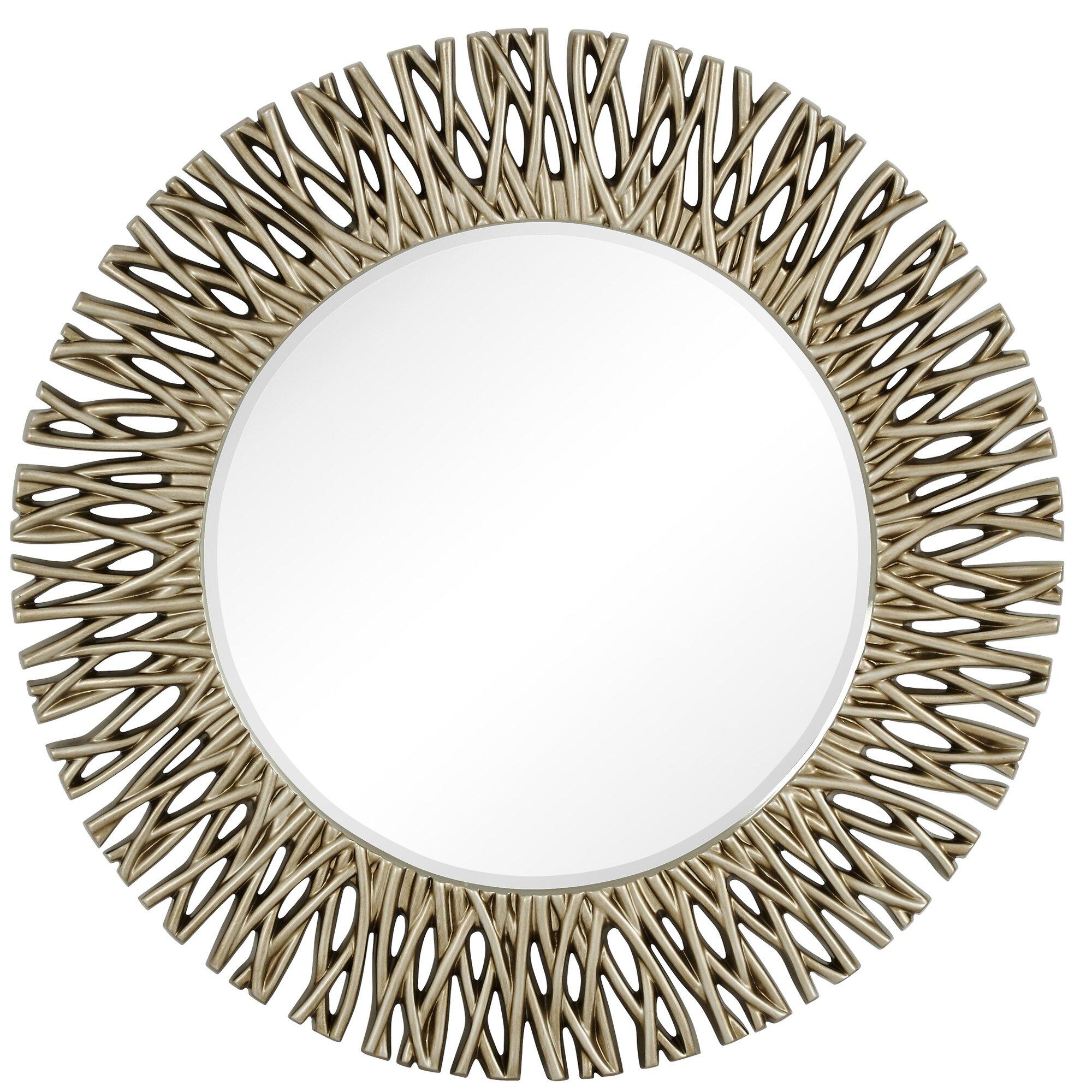 large round antique silver decorative beveled glass wall mirror - Large Decorative Wall Mirrors