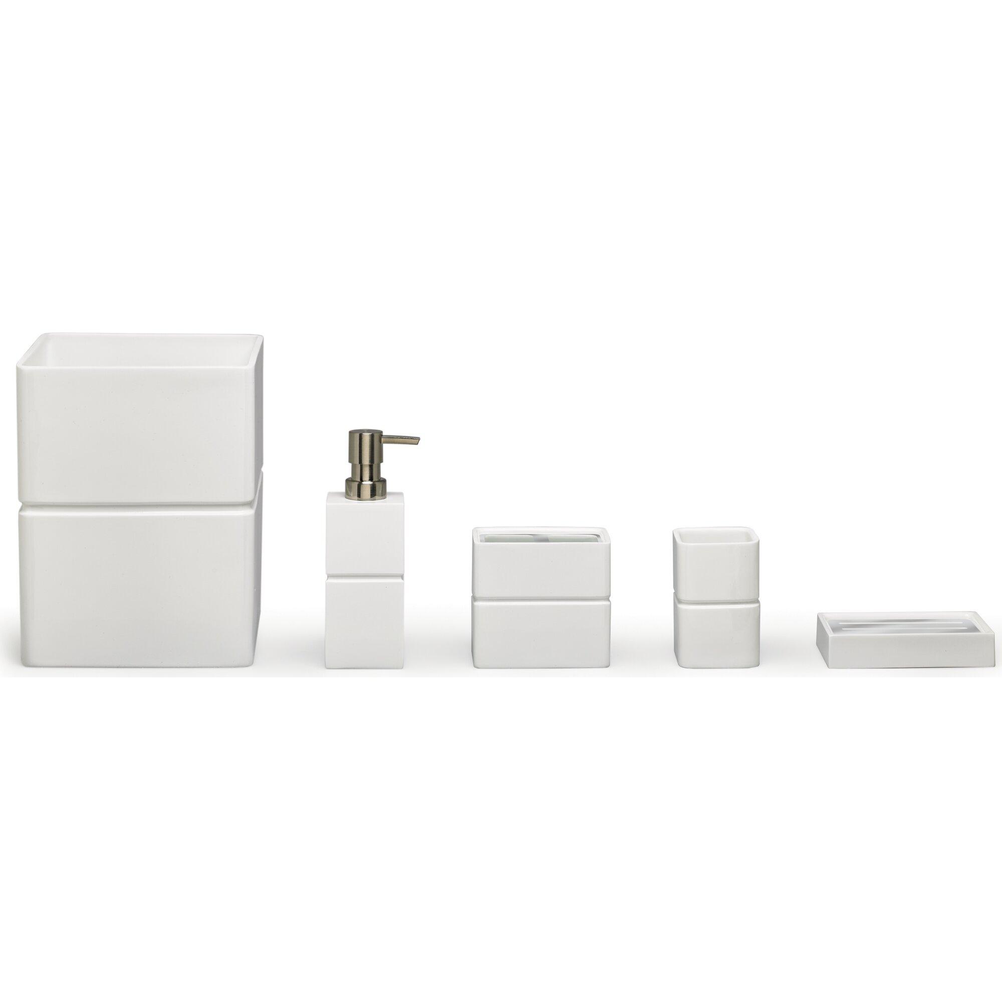 4 Piece Bathroom Accessory Set Moda At Home Alabaster Resin 4 Piece Bathroom Accessory Set