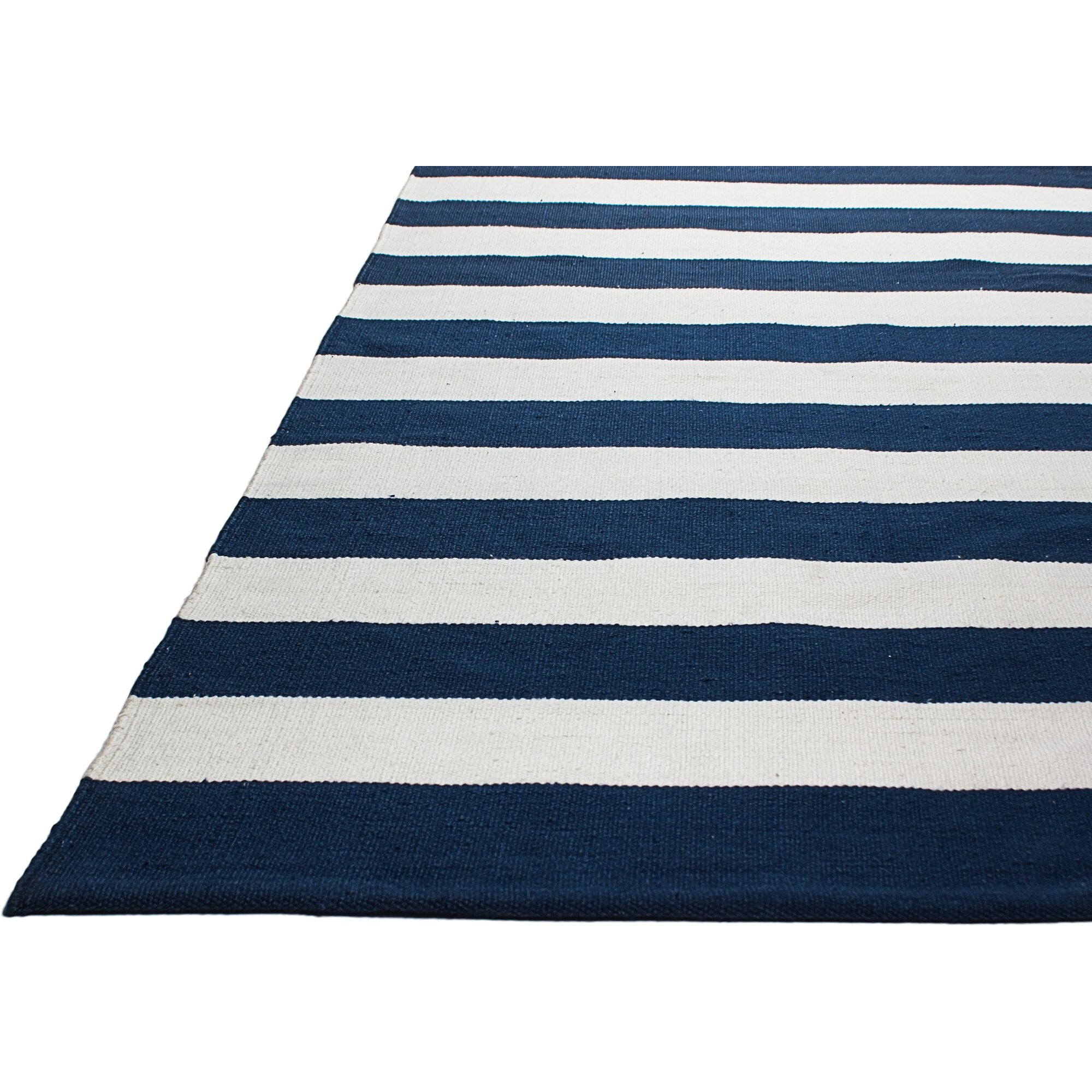Fab habitat nantucket striped blue white indoor outdoor for Blue and white area rugs