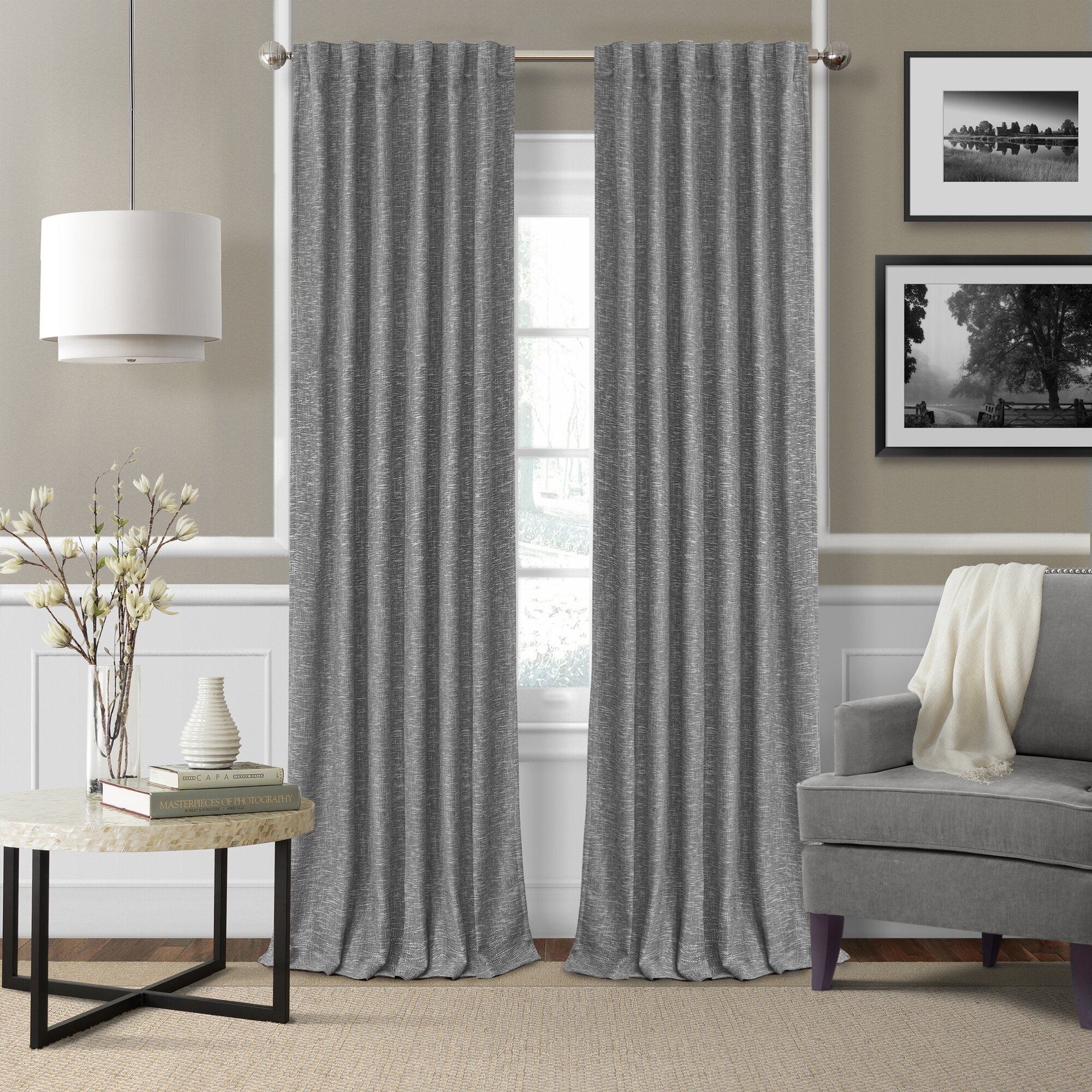 Modern grommet top curtains - Colton 3 In 1 Solid Blackout Thermal Rod Pocket Single Curtain Panel