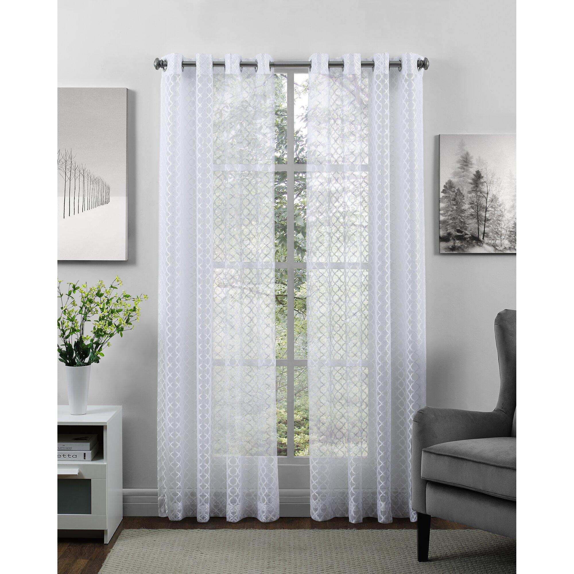 Richloom Bristol Geometric Sheer Grommet Single Curtain