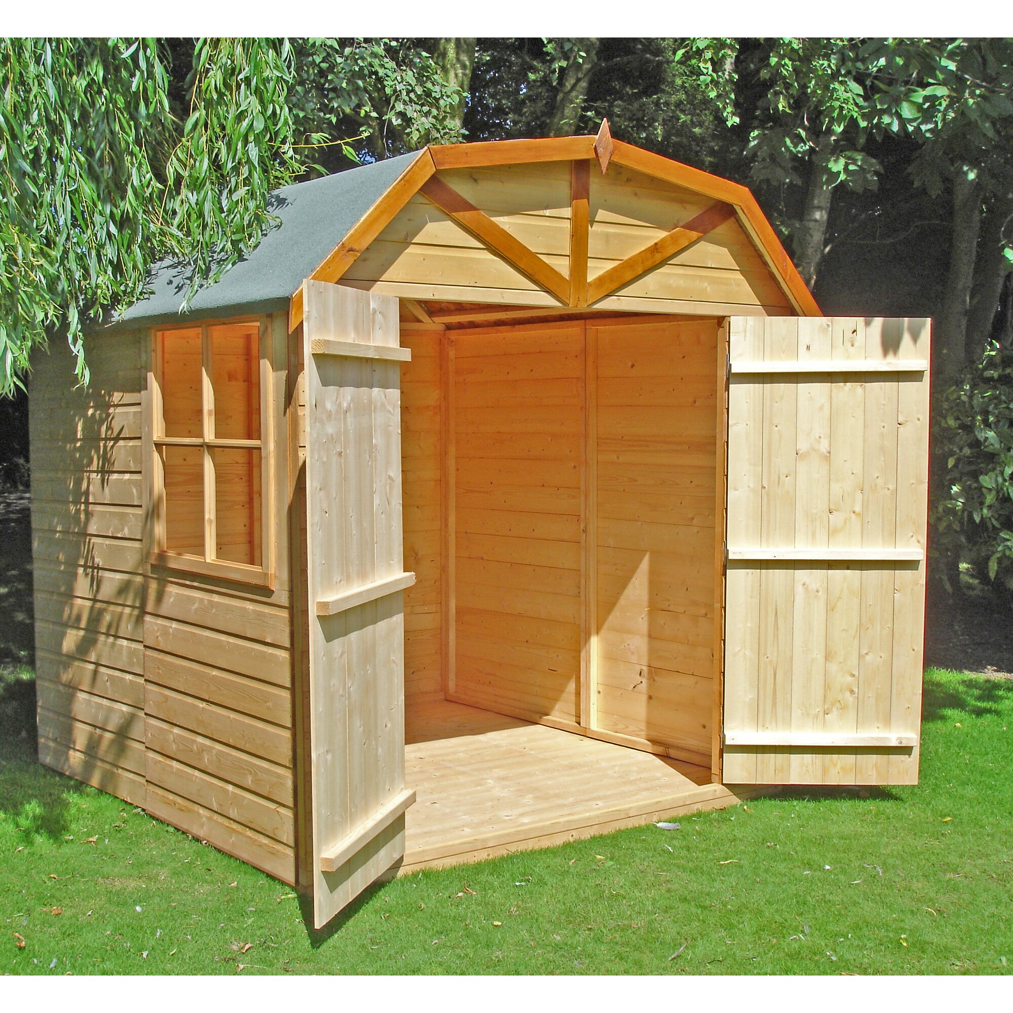 Dcor design 7 x 7 wooden storage shed reviews wayfair for Garden shed 7 x 5