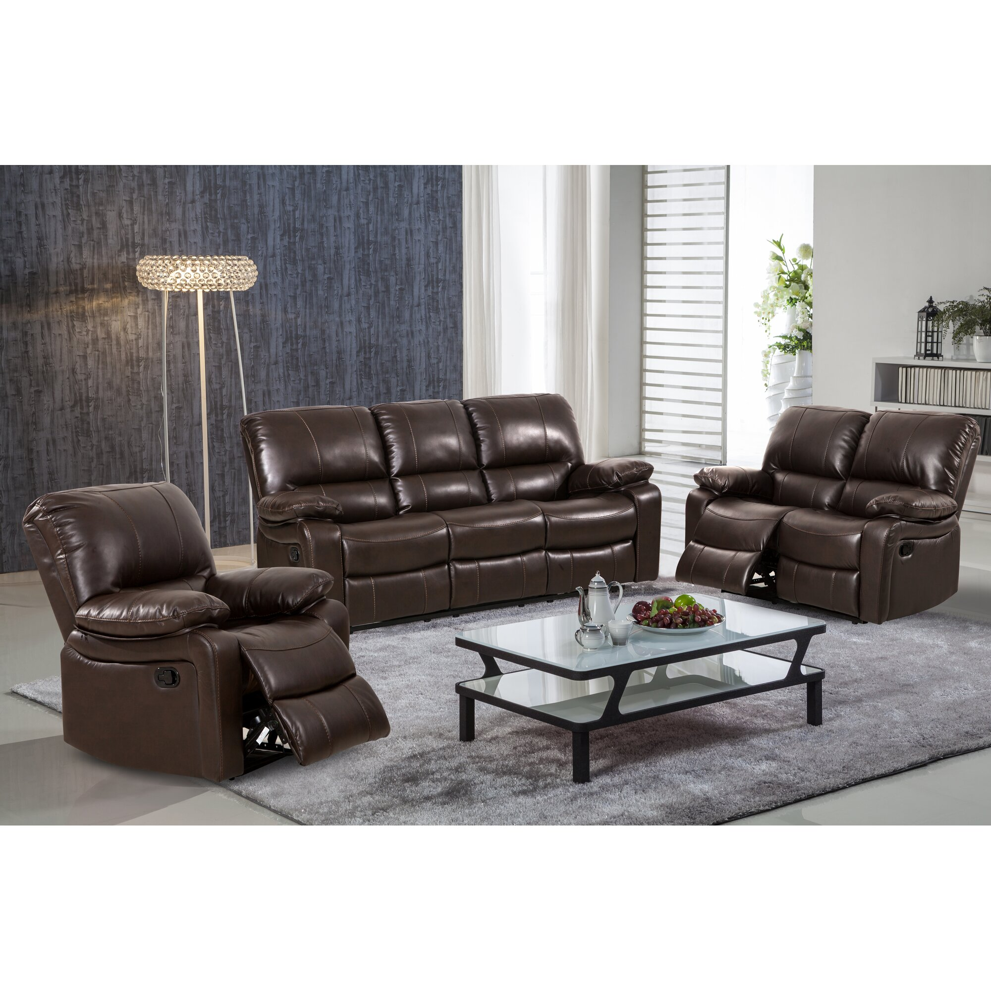 living in style layla 3 piece leather gel reclining living room set