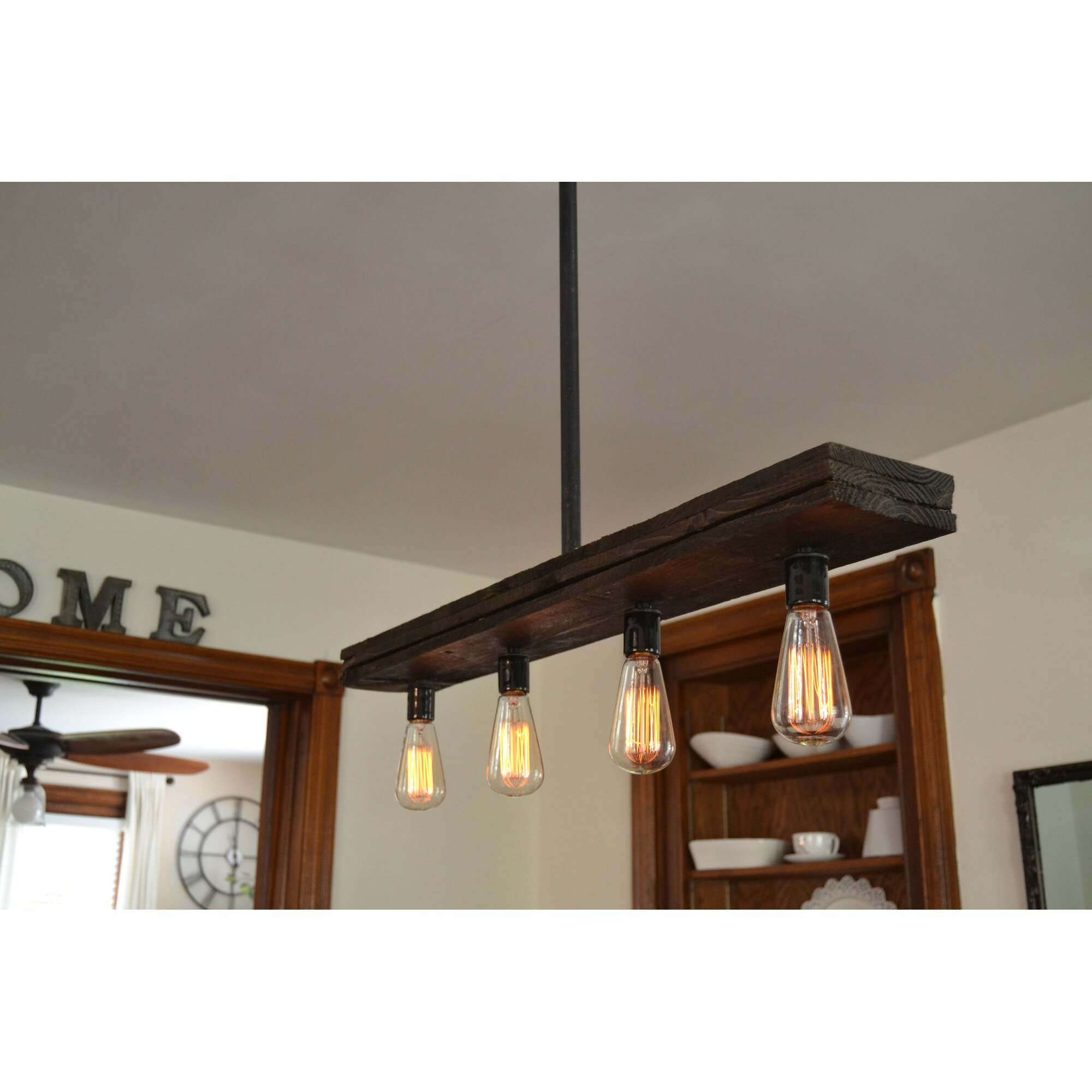 West Ninth Vintage Triple Wood 4Light Kitchen Island Pendant  Wayfair