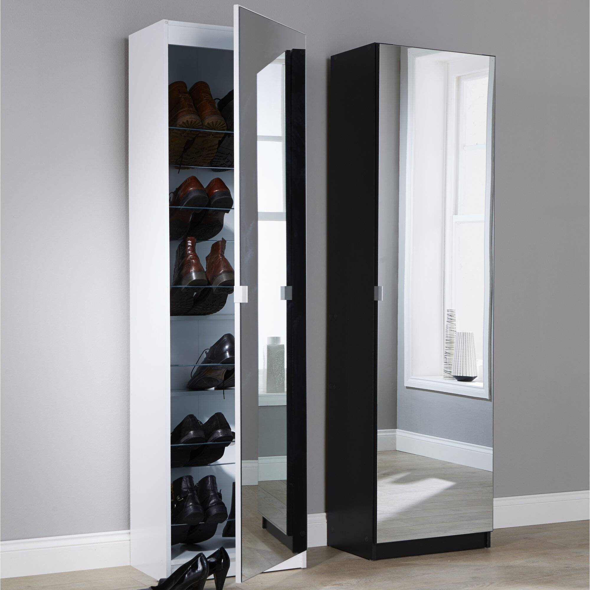Hazelwood Home Mirror Shoe Cabinet Amp Reviews Wayfair Co Uk