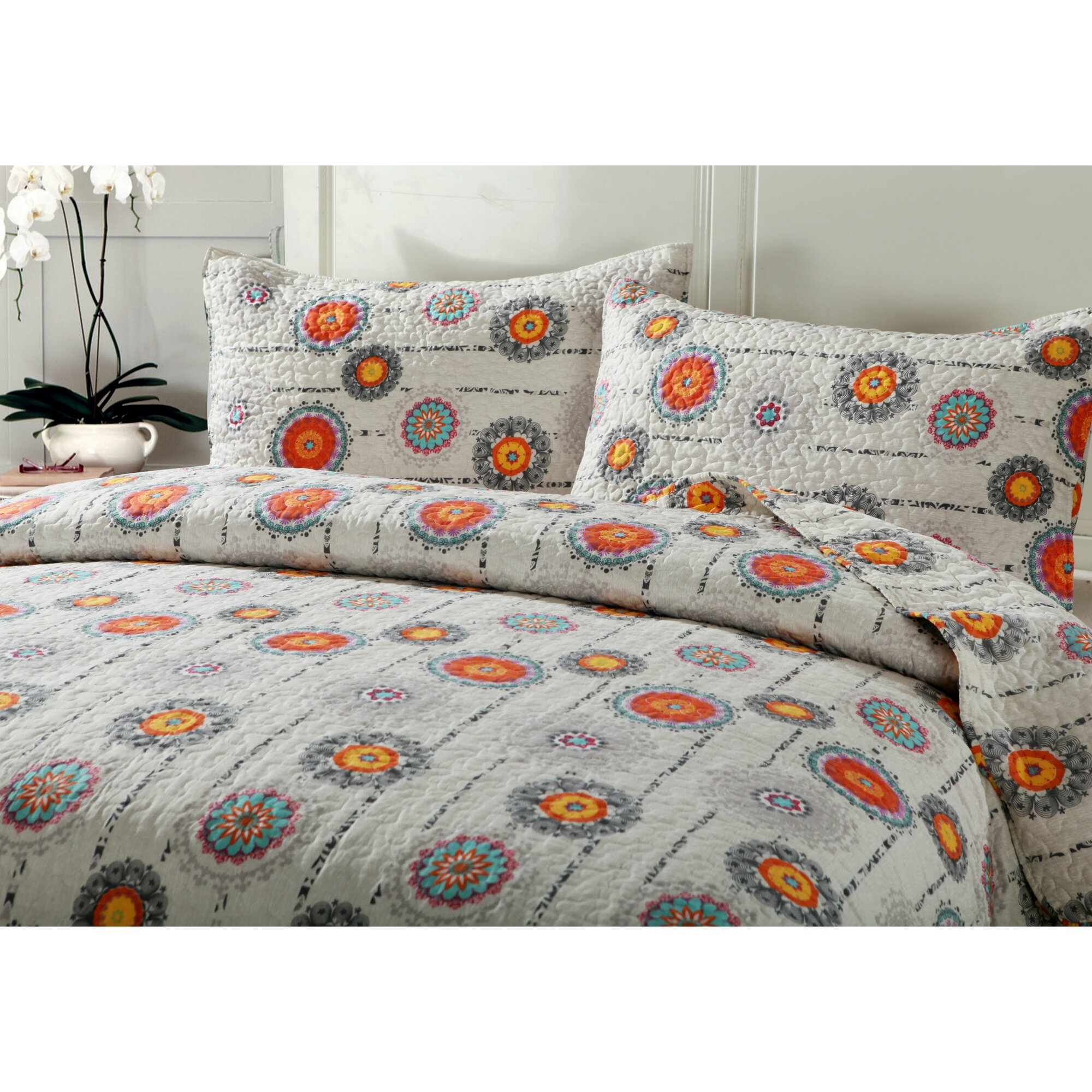 A keletnemet lanyok eneke   made in hungaria 457 - Bed Sheet Set With Quilt Bohemian Constellations Reversible Patchwork Quilt Set