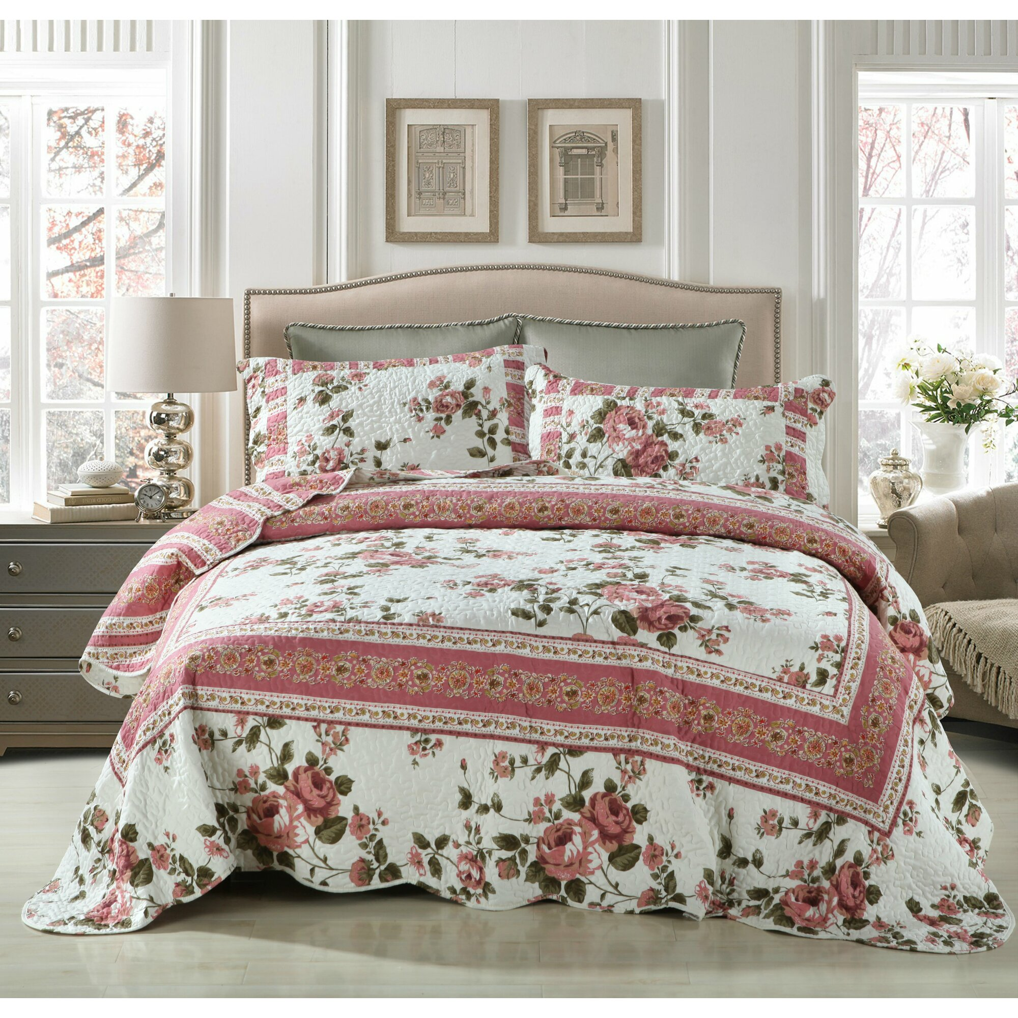 Bed sheet set with quilt - Bohemian Cottage Roses Reversible Patchwork Quilt Set
