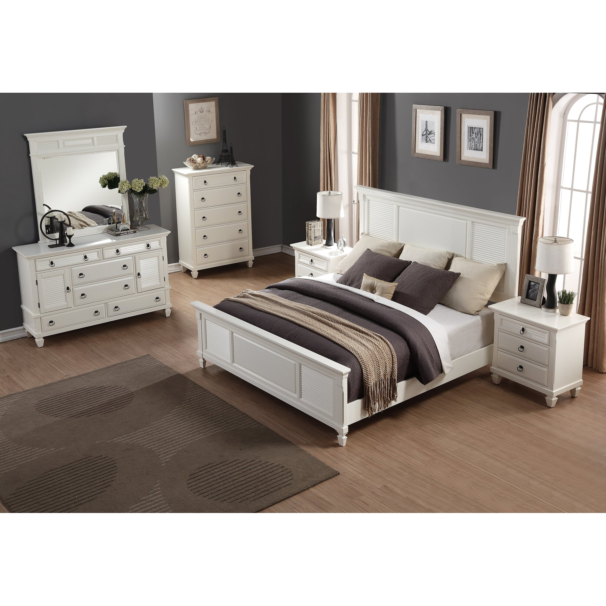 roundhill furniture regitina panel 6 piece bedroom set wayfair