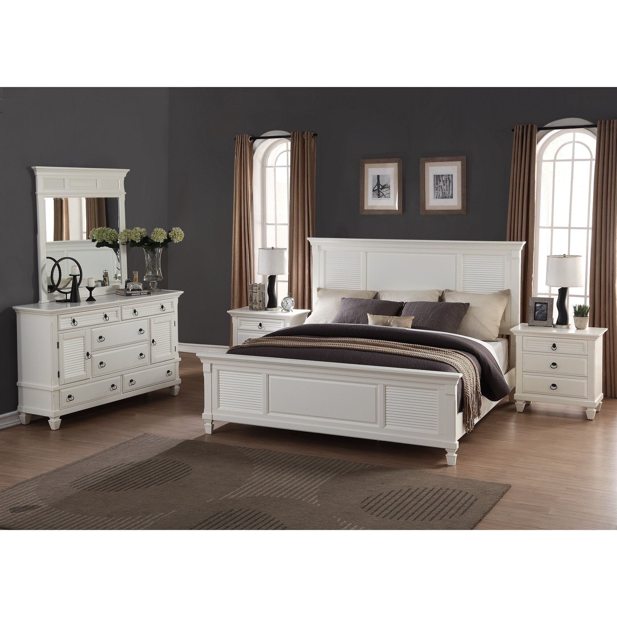 roundhill furniture regitina panel 5 piece bedroom set reviews wayfair. Black Bedroom Furniture Sets. Home Design Ideas