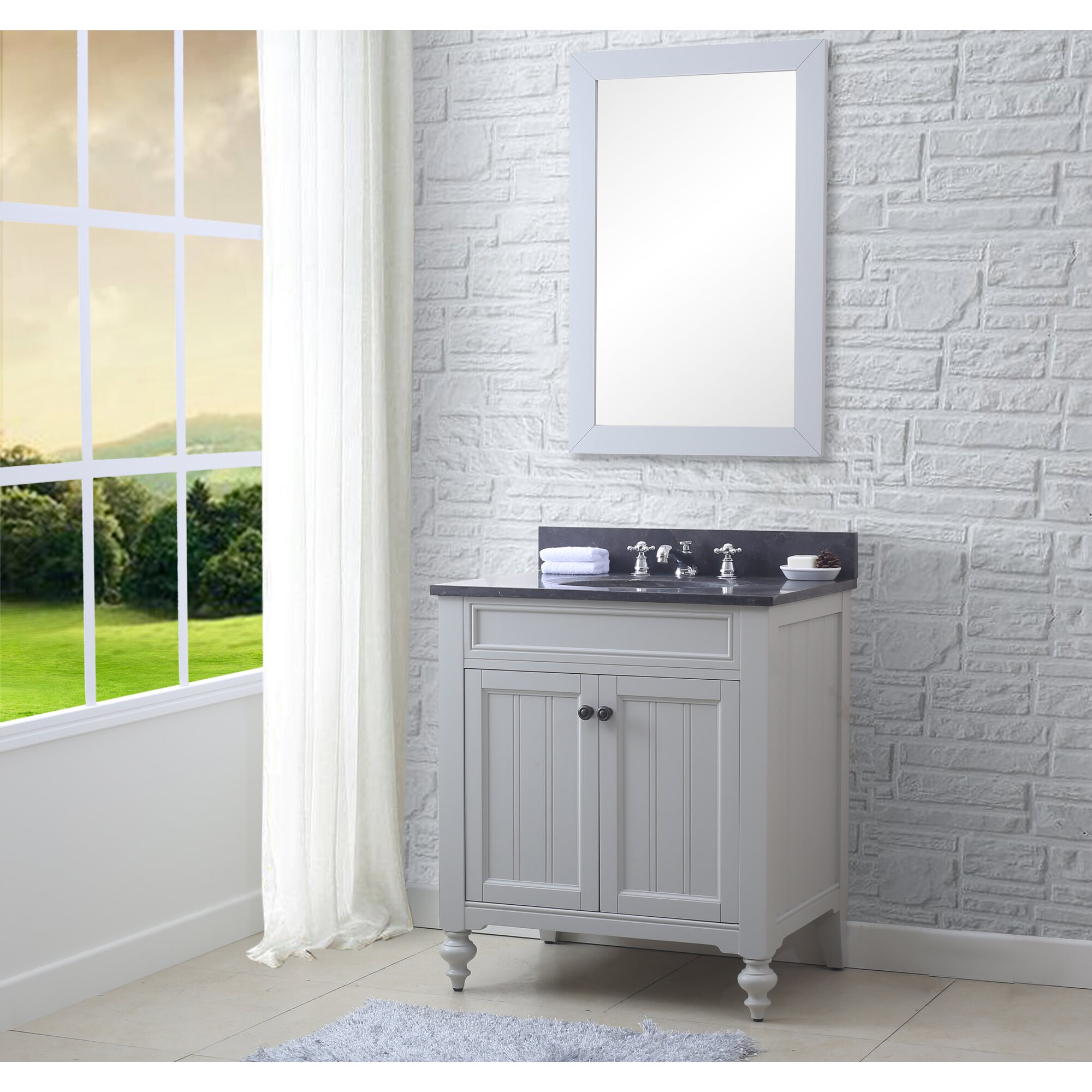 "30 In Bathroom Vanity latimer 30"" single bathroom vanity set with mirror and faucet"