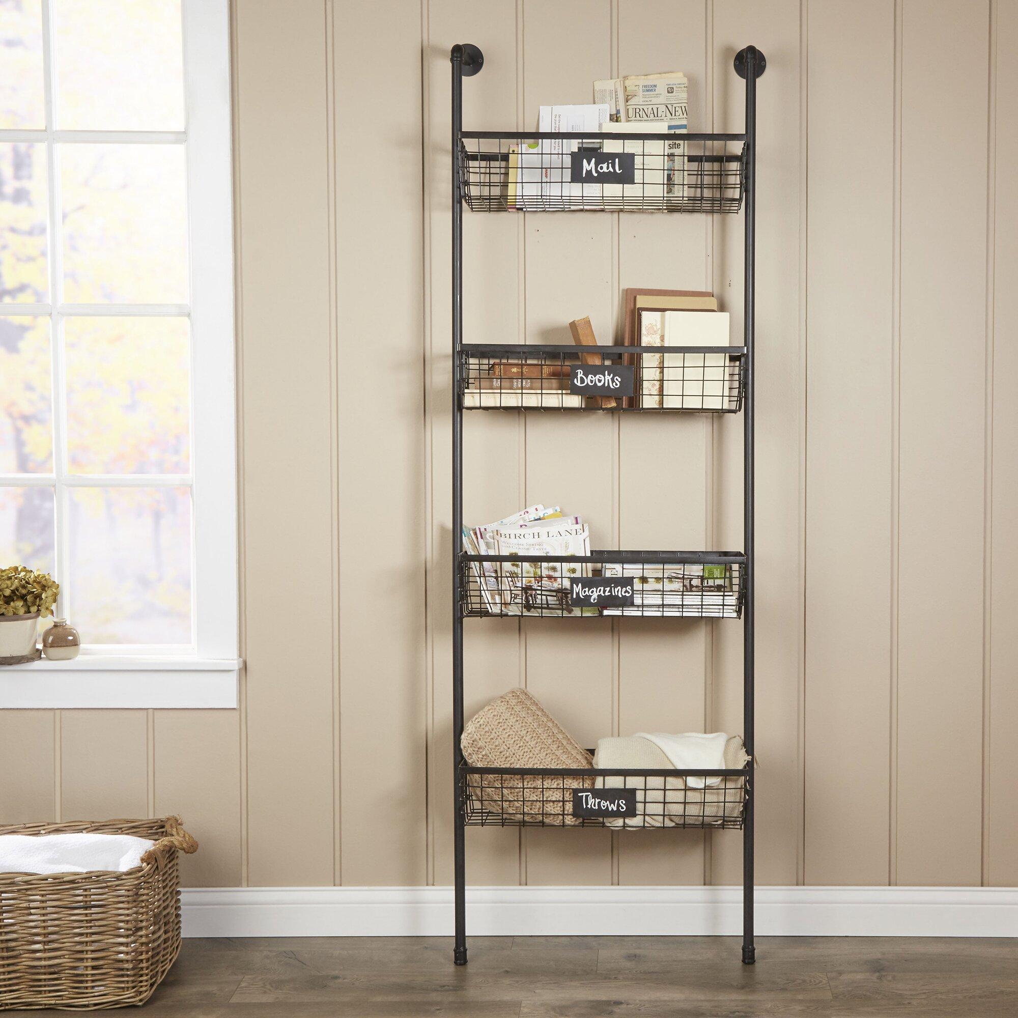 birch lane 4 tier wire basket wall shelf reviews wayfair. Black Bedroom Furniture Sets. Home Design Ideas