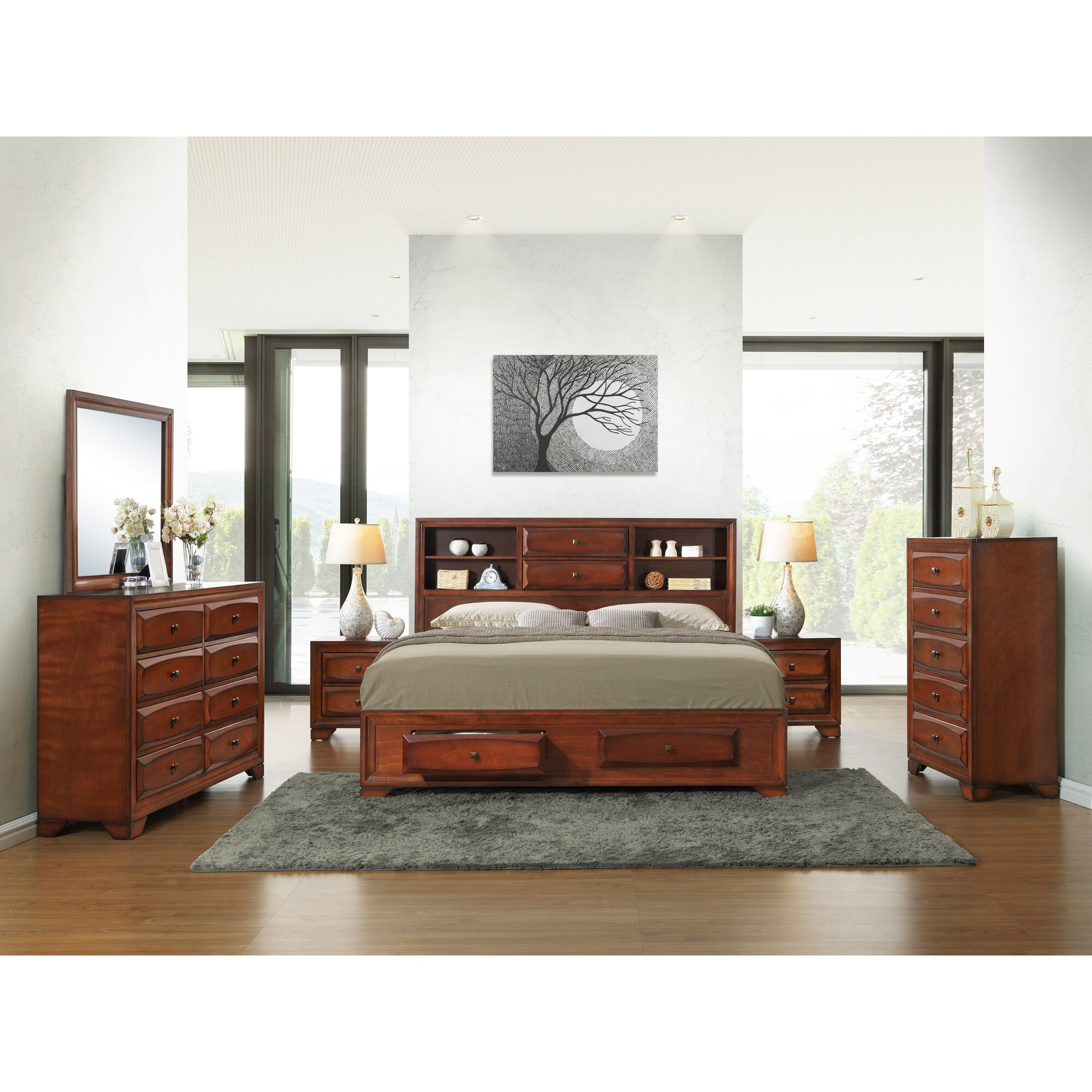 Bedroom Furniture: Roundhill Furniture Asger King Platform Customizable