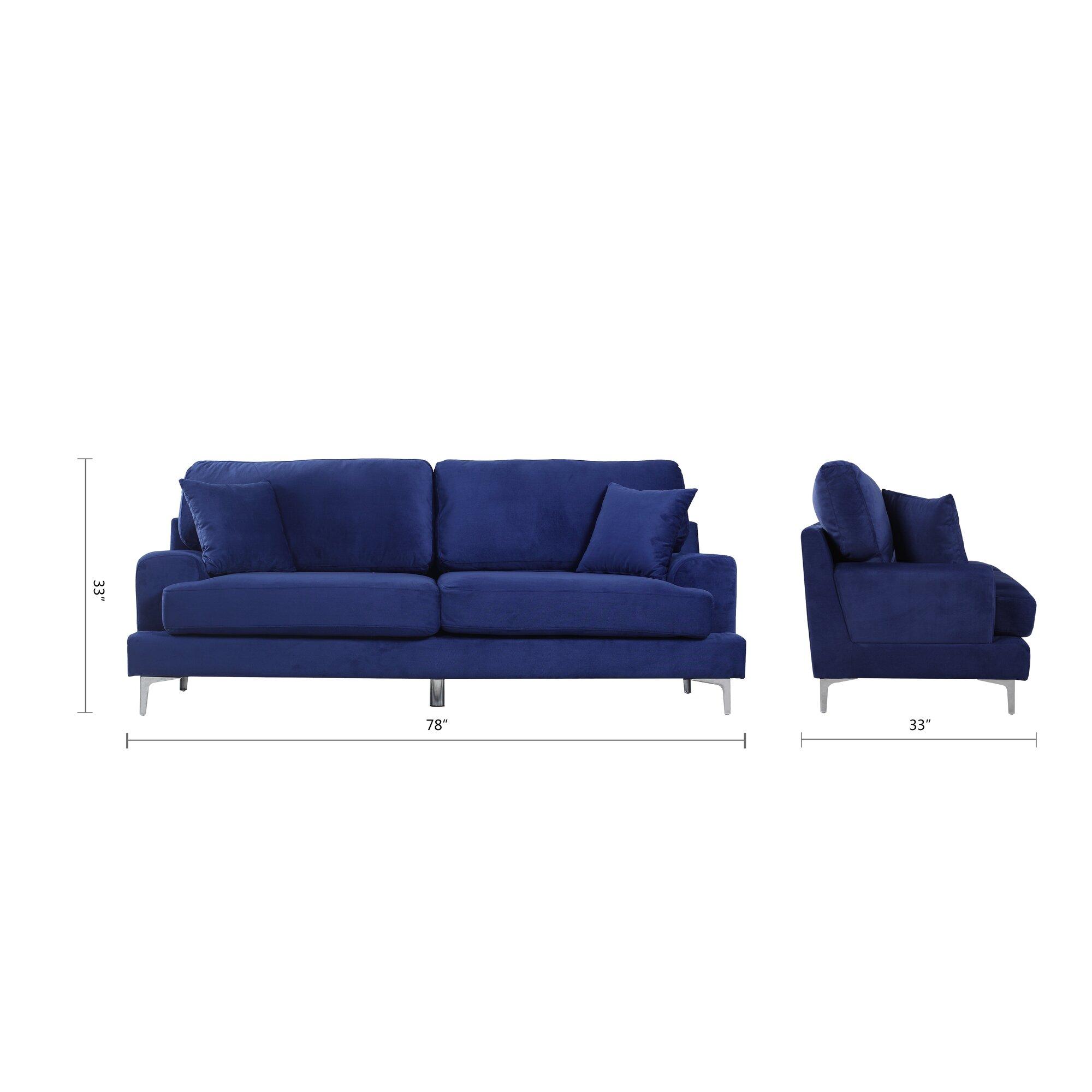 ultra modern plush velvet living room sofa reviews allmodern. Black Bedroom Furniture Sets. Home Design Ideas