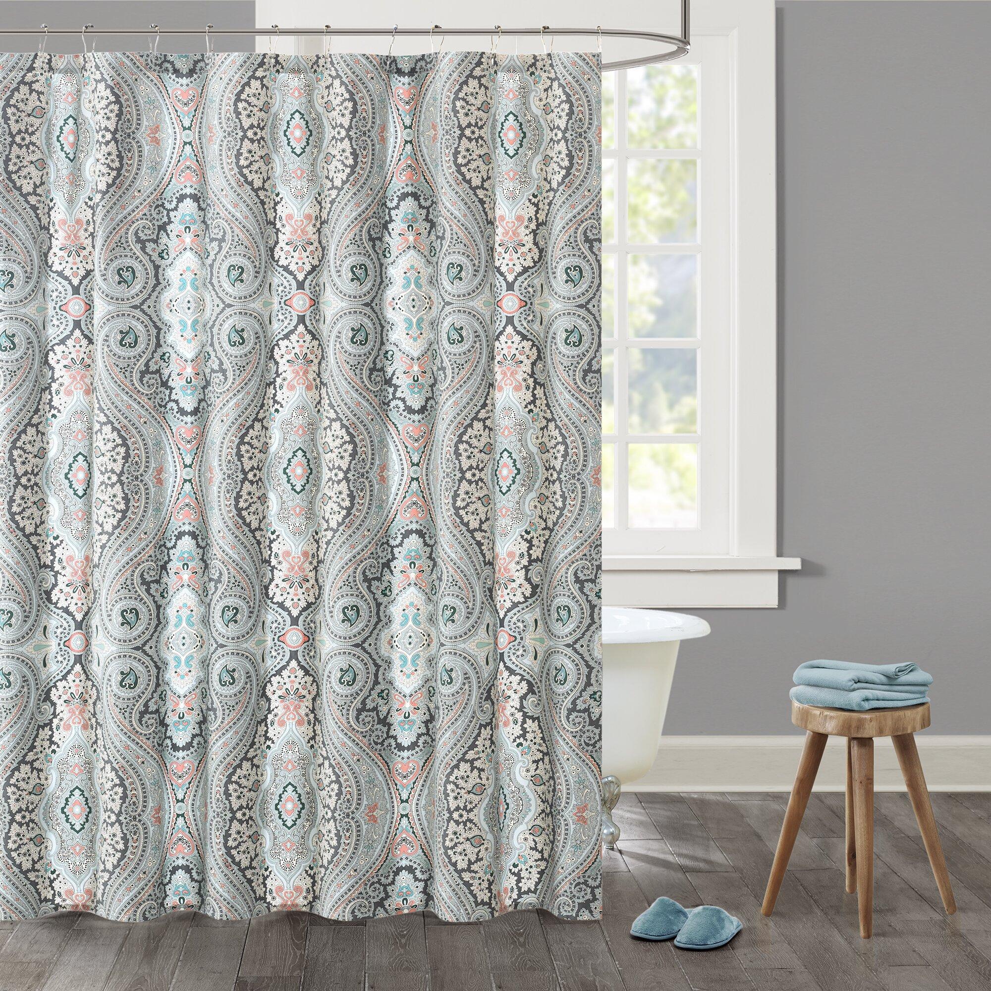 Aqua Chevron Shower Curtain -