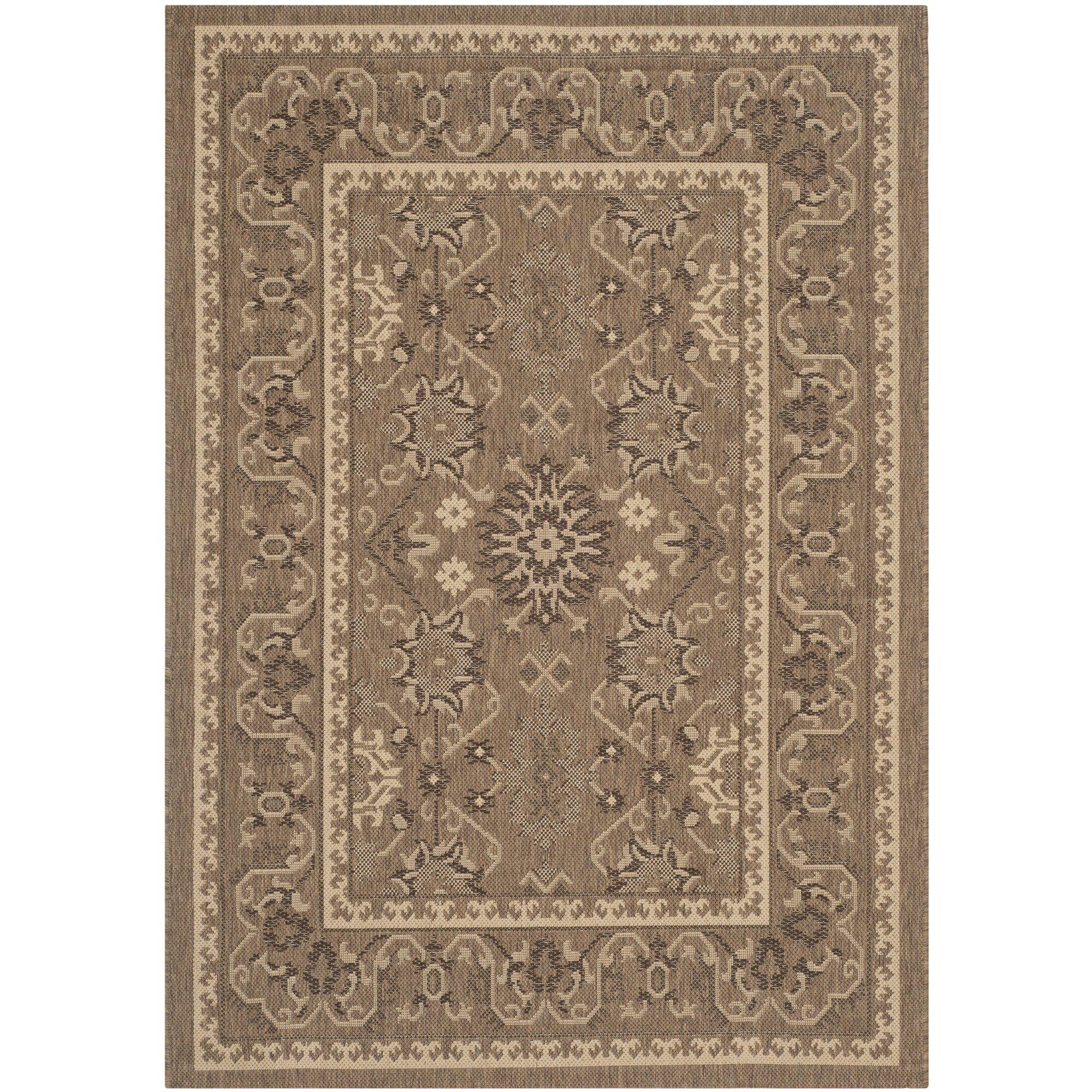 Alcott hill bacall brown creme indoor outdoor area rug for Landscape indoor area rug