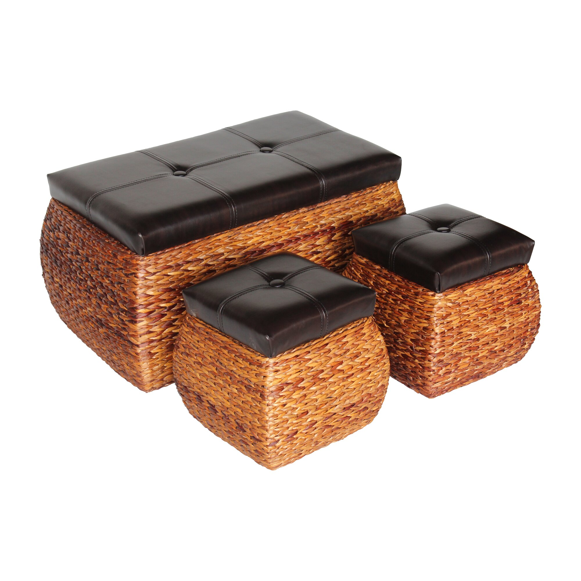 AttractionDesignHome 3 Piece Wicker Trunk And Ottoman Set