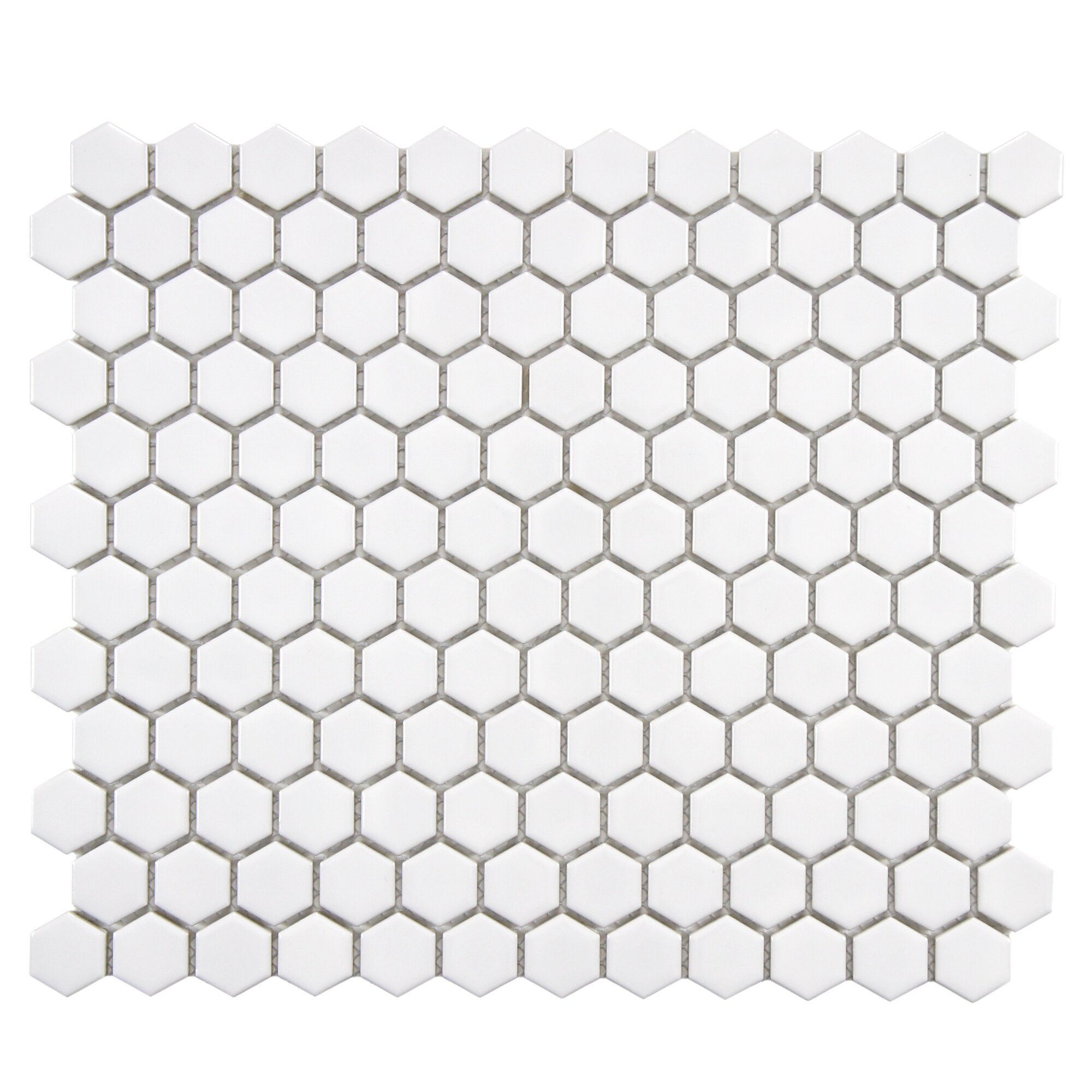 retro 0 875 u0026quot  x 0 875 u0026quot  hex porcelain mosaic tile in glossy