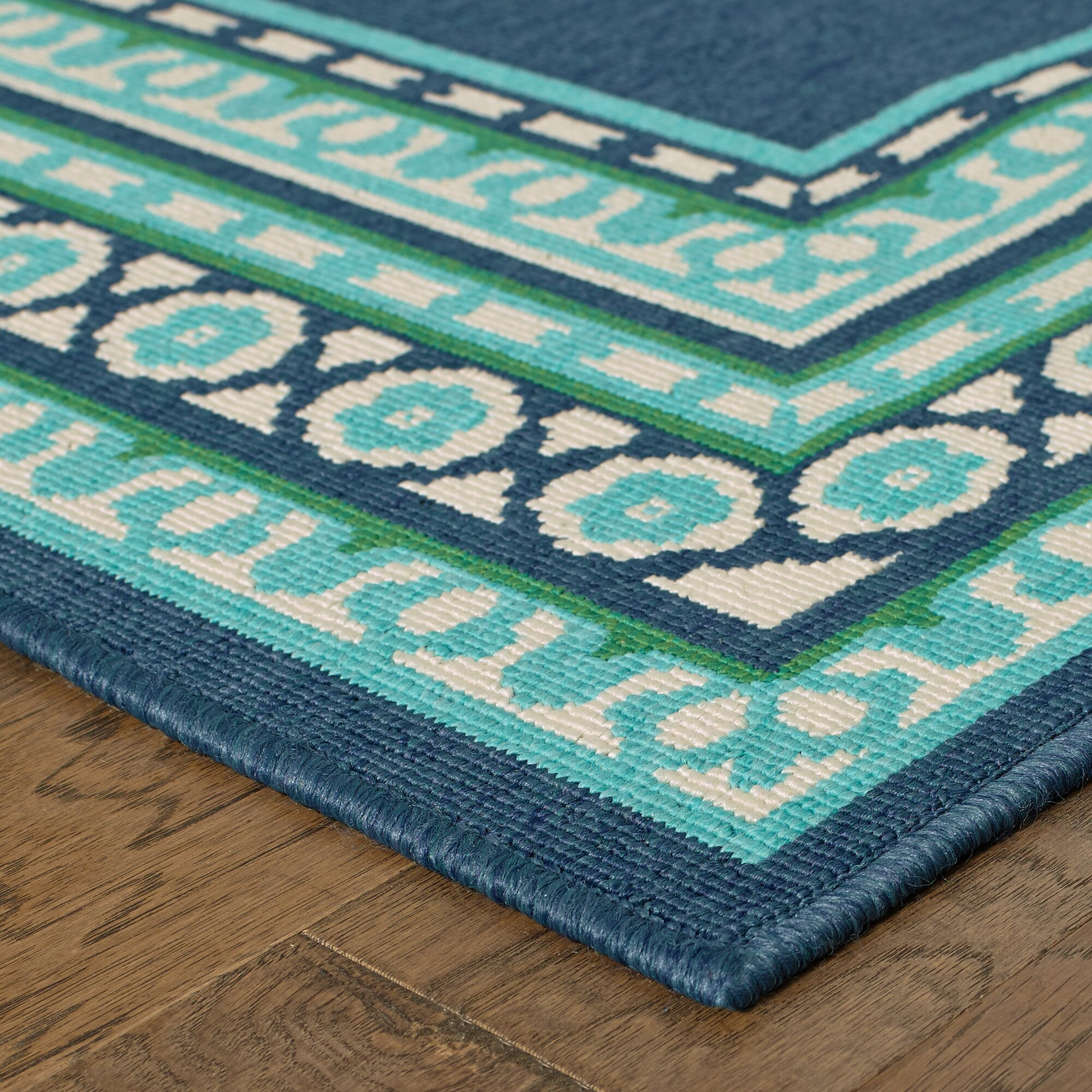 Threadbind Cortlandt Navy Green Indoor Outdoor Area Rug