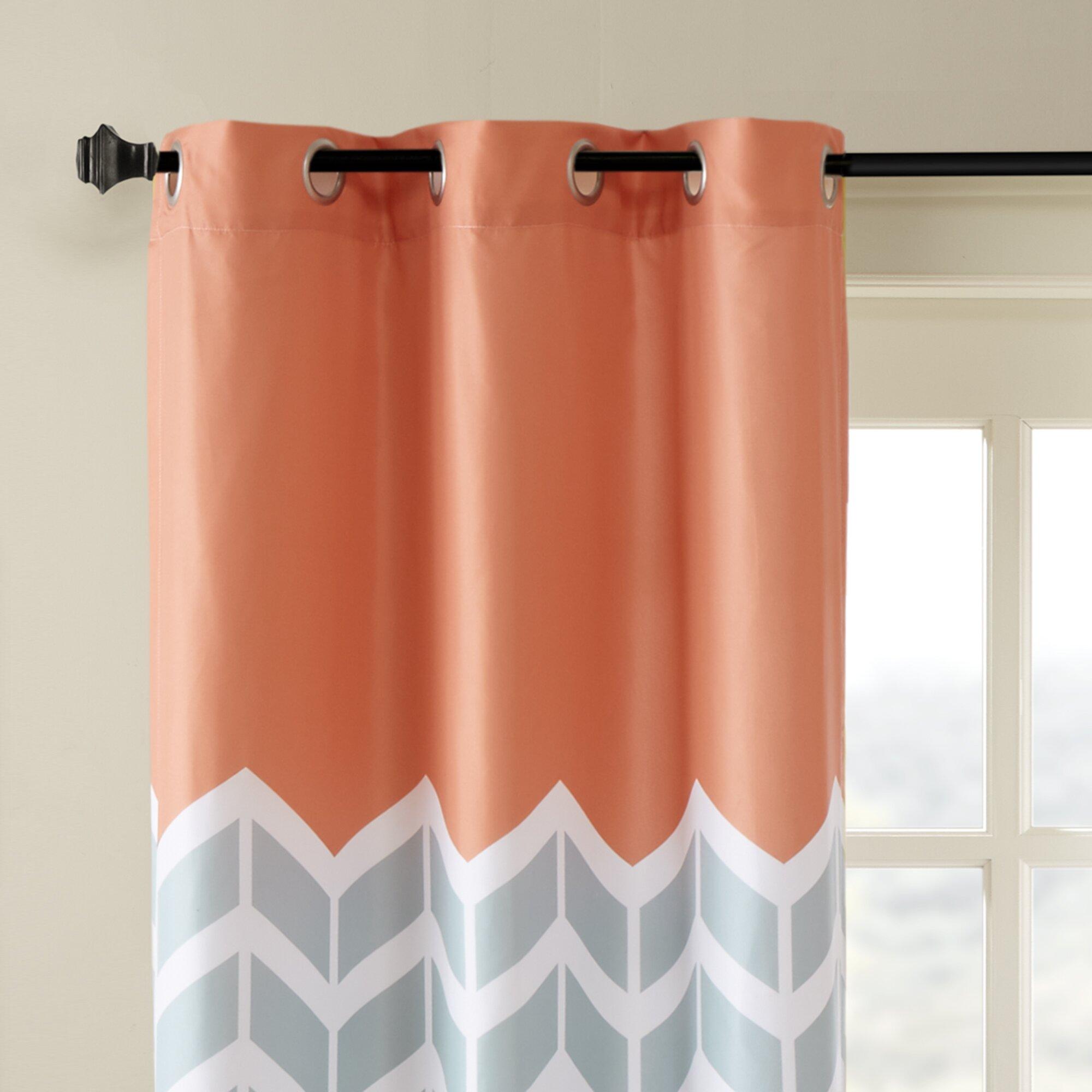 Intelligent Design Alex Chevron Semi Sheer Curtain Panels