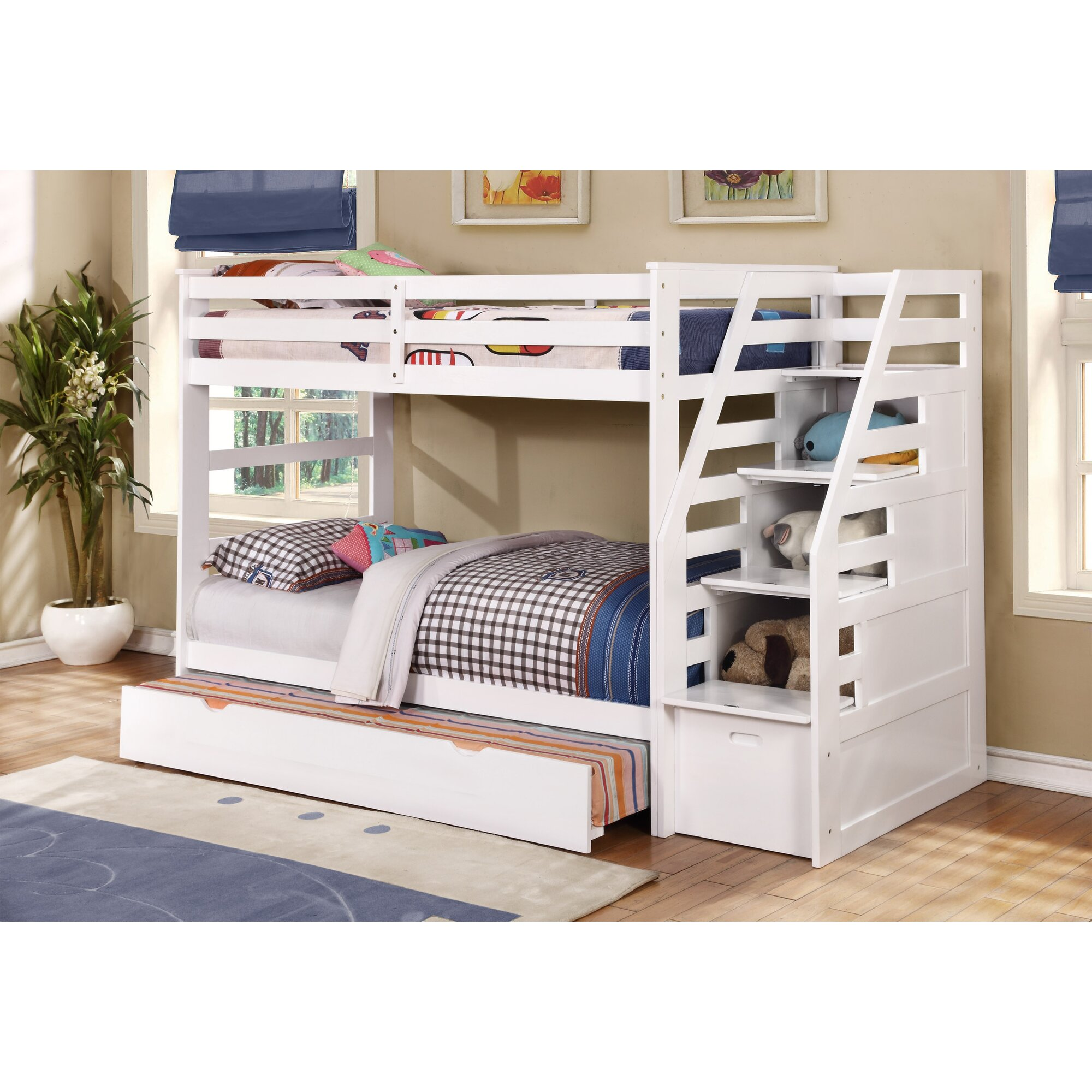 Wildon Home ® Cosmo Twin Bunk Bed with Trundle and Storage ...