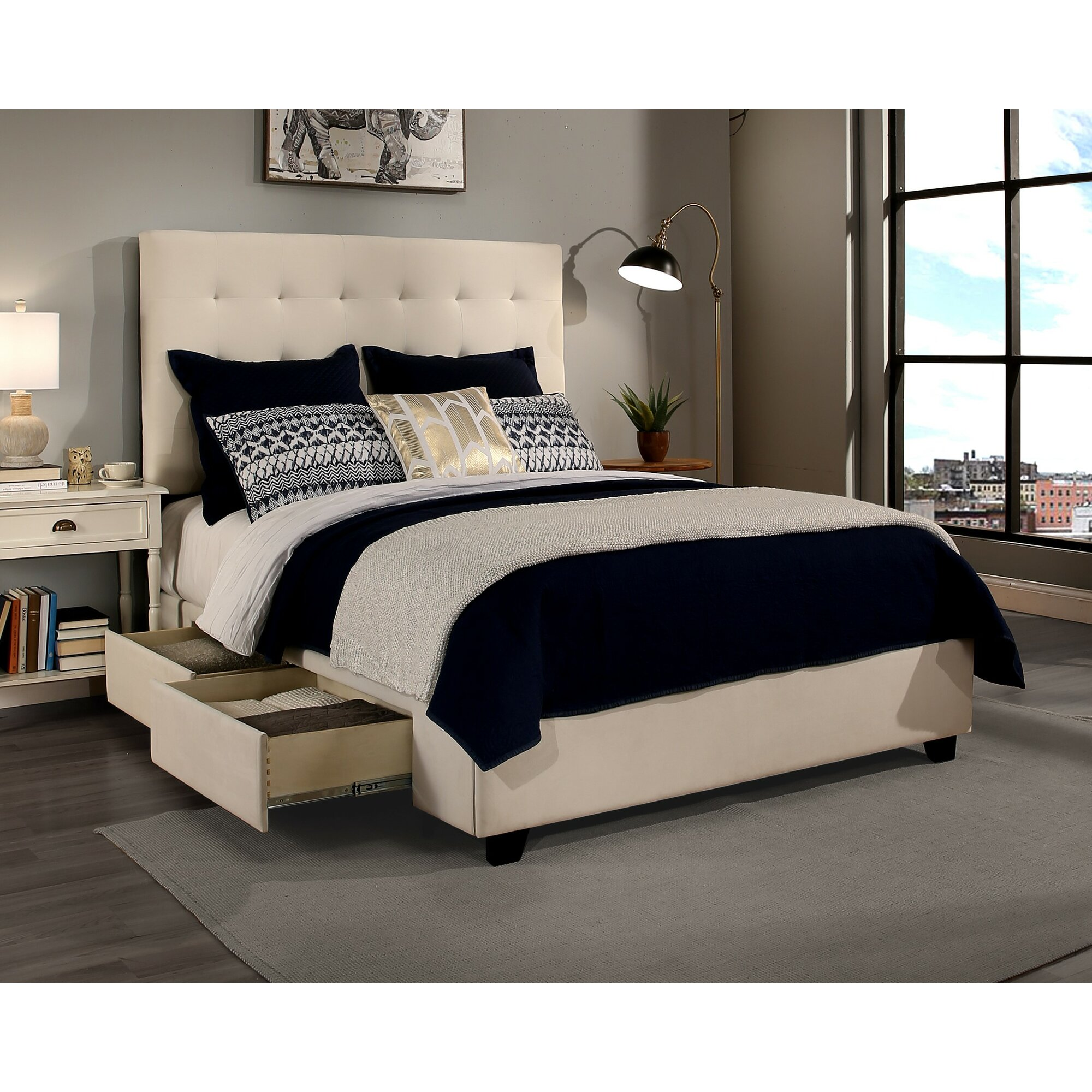 republicdesignhouse manhattan upholstered storage platform bed reviews wayfair. Black Bedroom Furniture Sets. Home Design Ideas