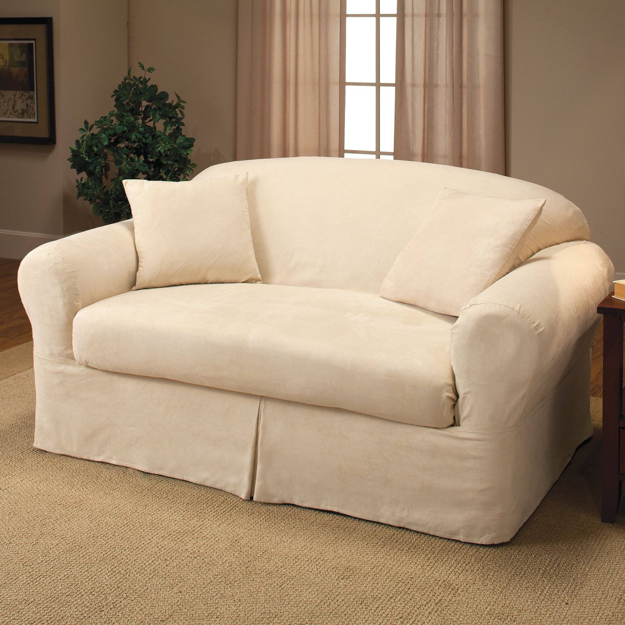 Madison Home Microsuede Two Piece Loveseat Slipcover Reviews Wayfair