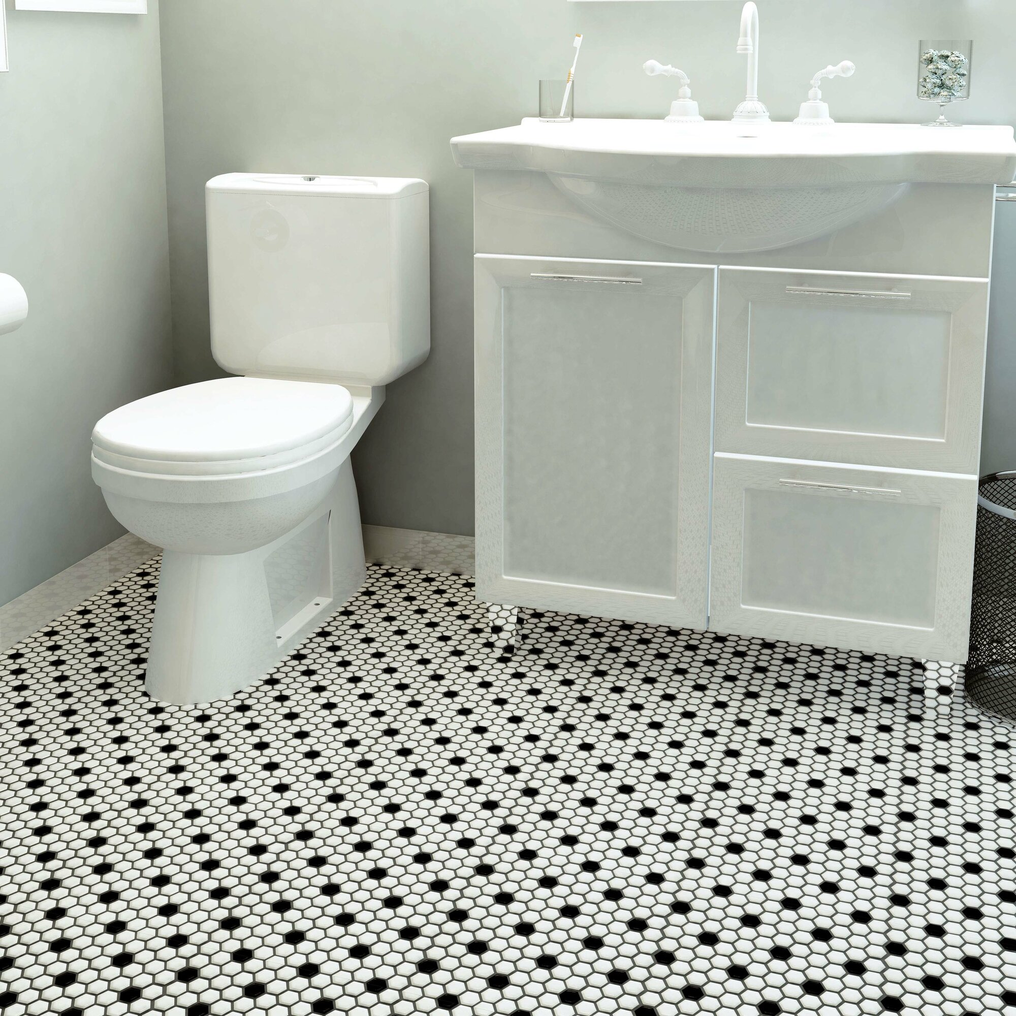Retro X Hex Porcelain Mosaic Tile In Matte White With Black Dots Reviews Allmodern