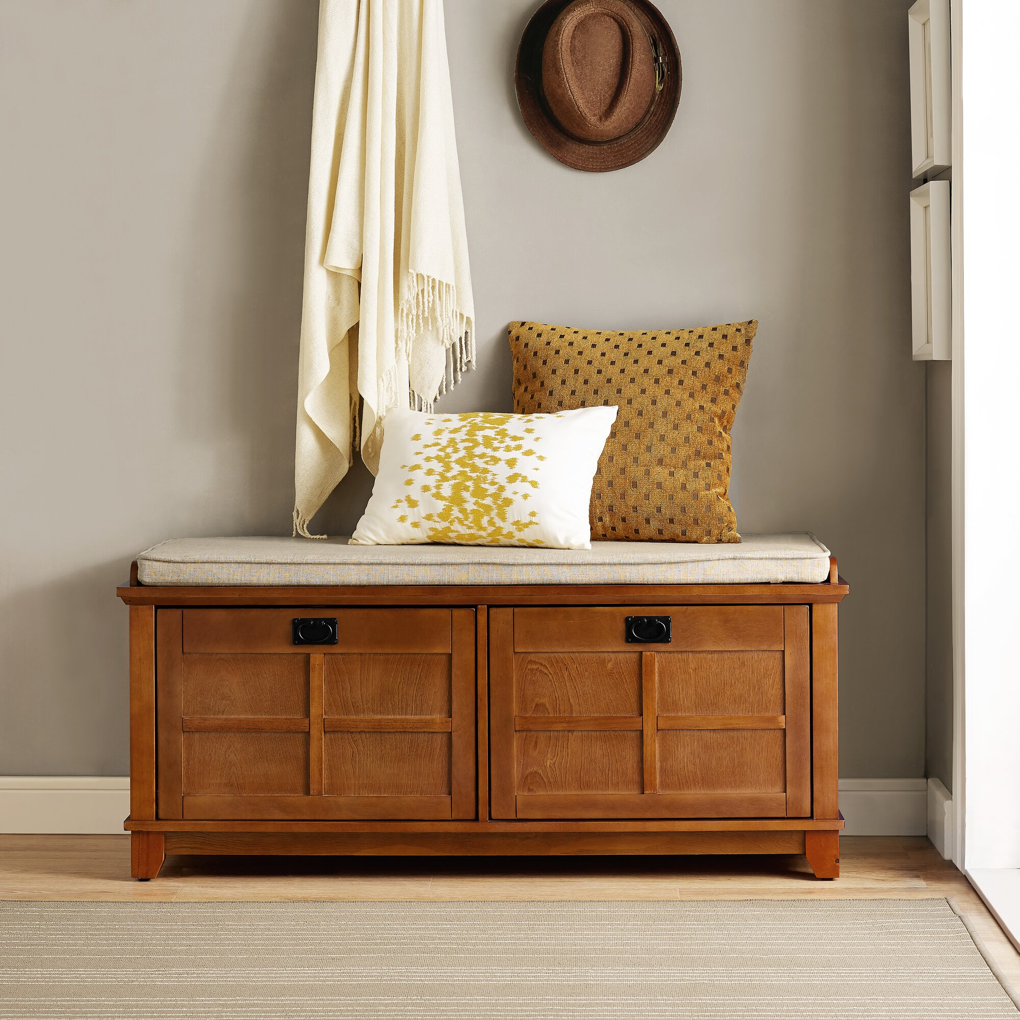 entryway benches with storage organizing | Bay Isle Home Haddam Fabric Storage Entryway Bench ...