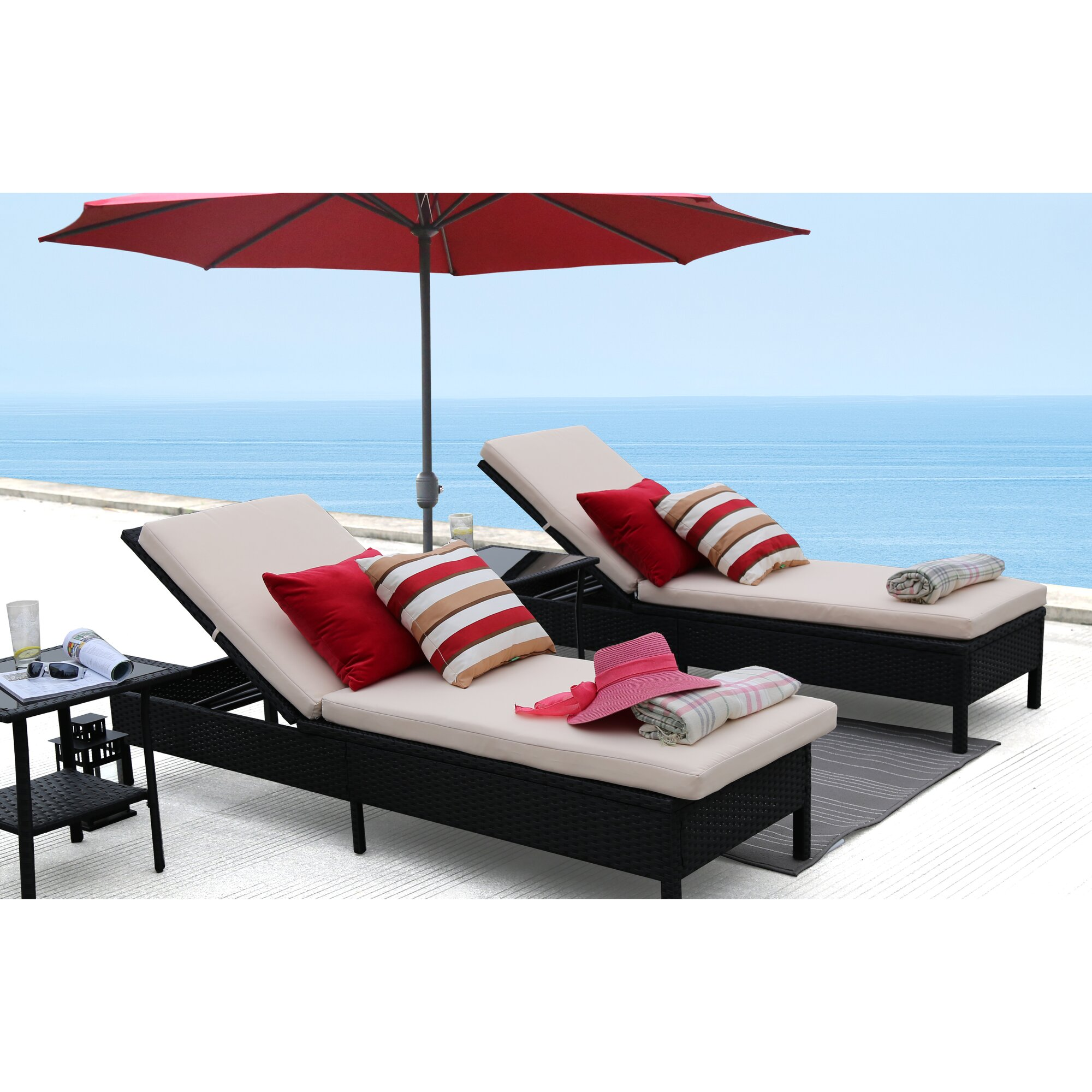 Baner garden chaise lounge with cushion reviews for 3 in 1 beach chaise lounge