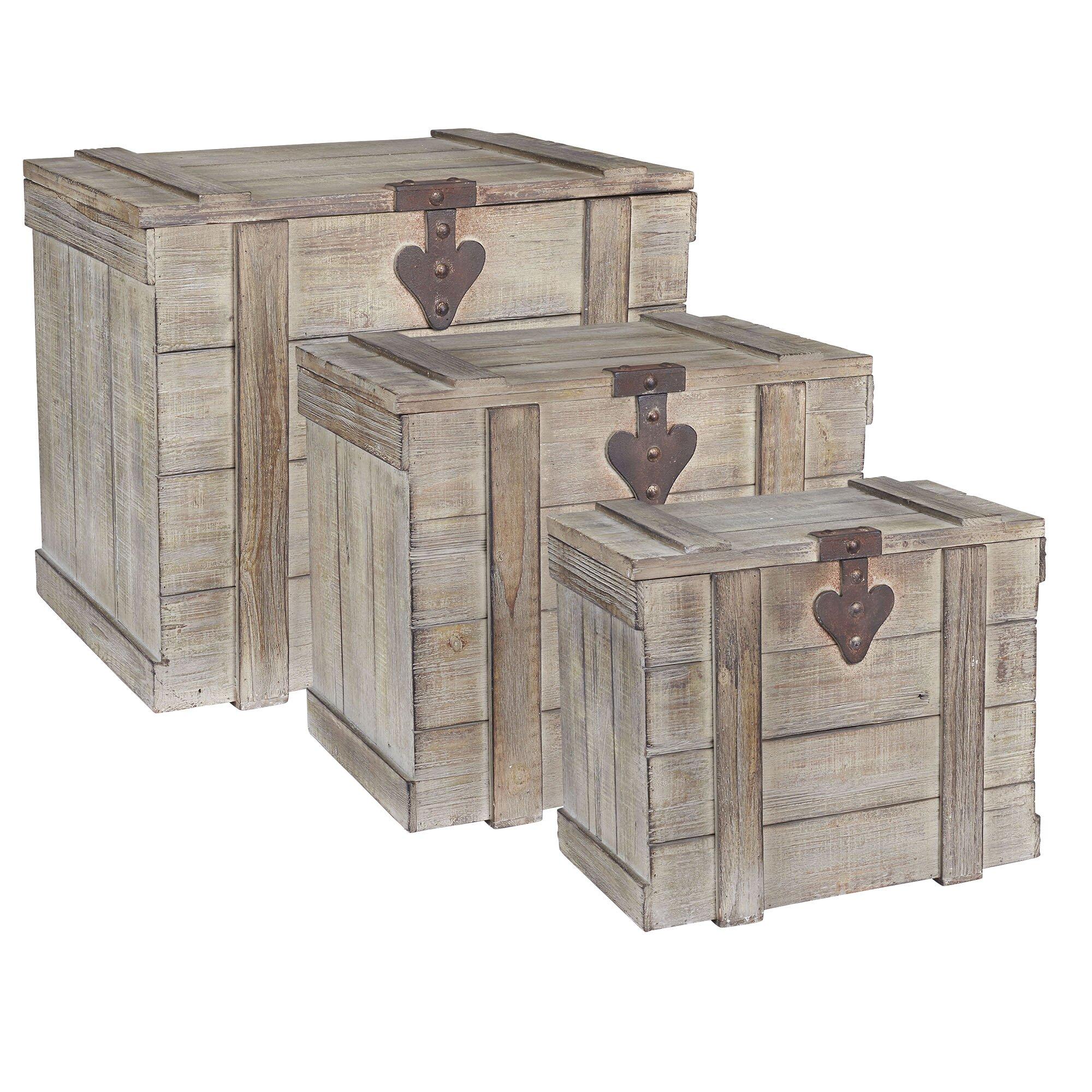 3 piece wooden home chest set