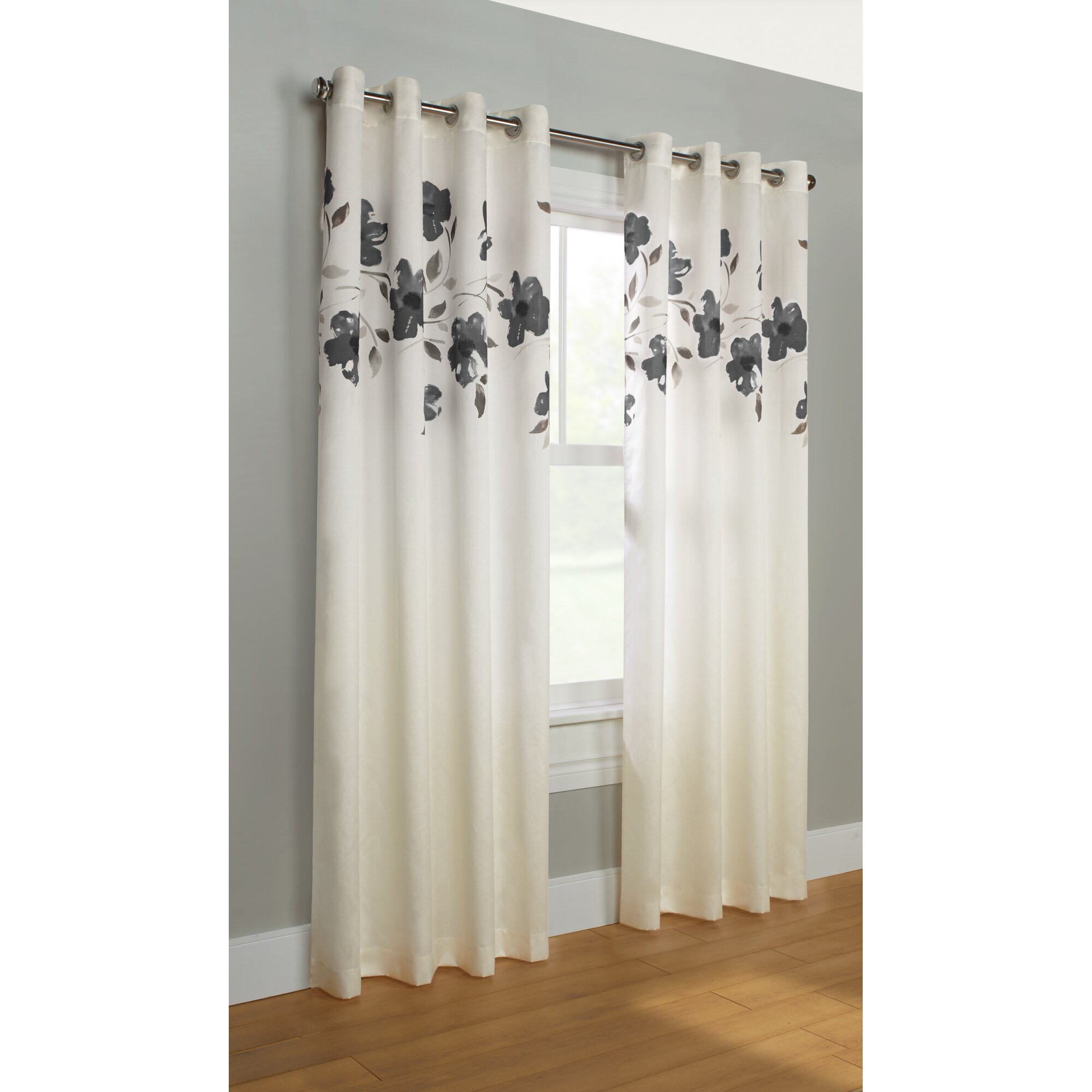 Winston Porter Simpson Nature Floral Semi Sheer Grommet: Winston Porter Simpson Nature/Floral Semi-Sheer Grommet Single Curtain Panel & Reviews